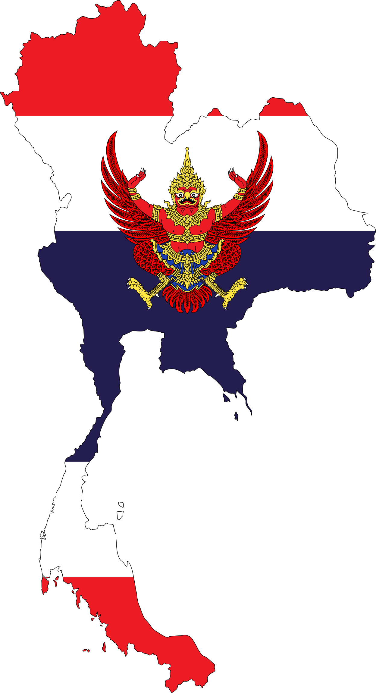 Thailand Map Flag With Stroke And Emblem by GDJ