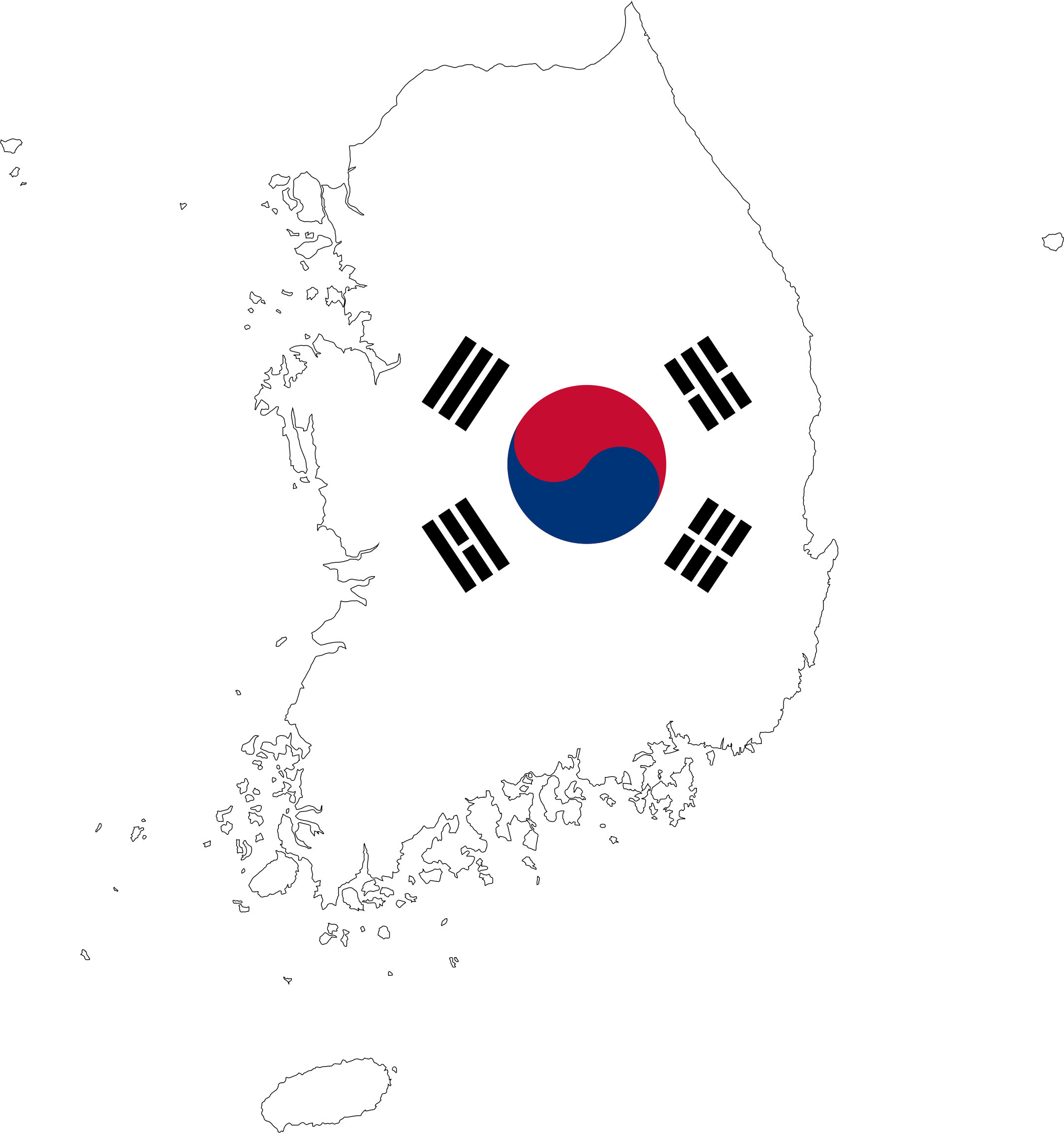 South Korea Map Flag With Stroke by GDJ