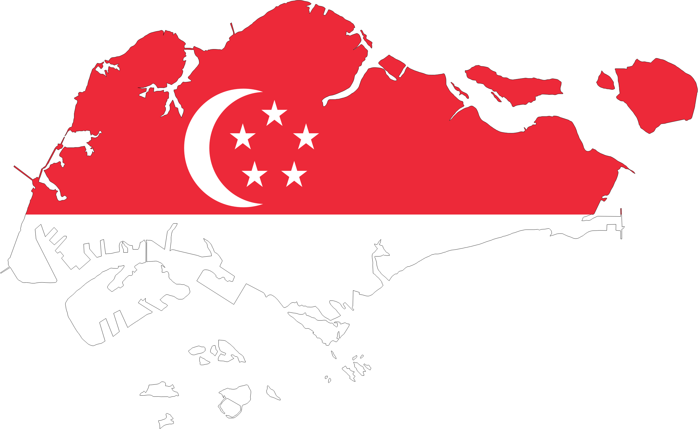 Singapore Map Flag With Stroke by GDJ