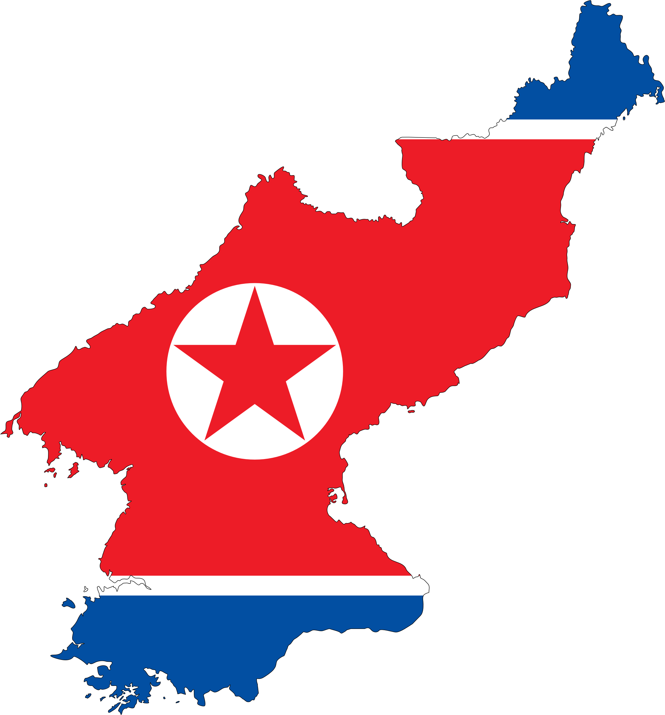 North Korea Map Flag With Stroke by GDJ