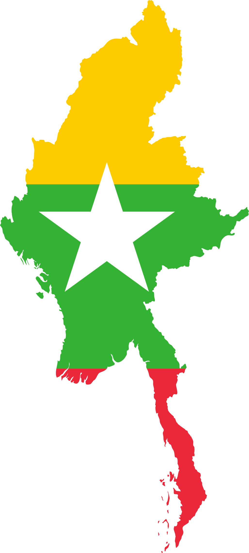 Myanmar Map Flag by GDJ