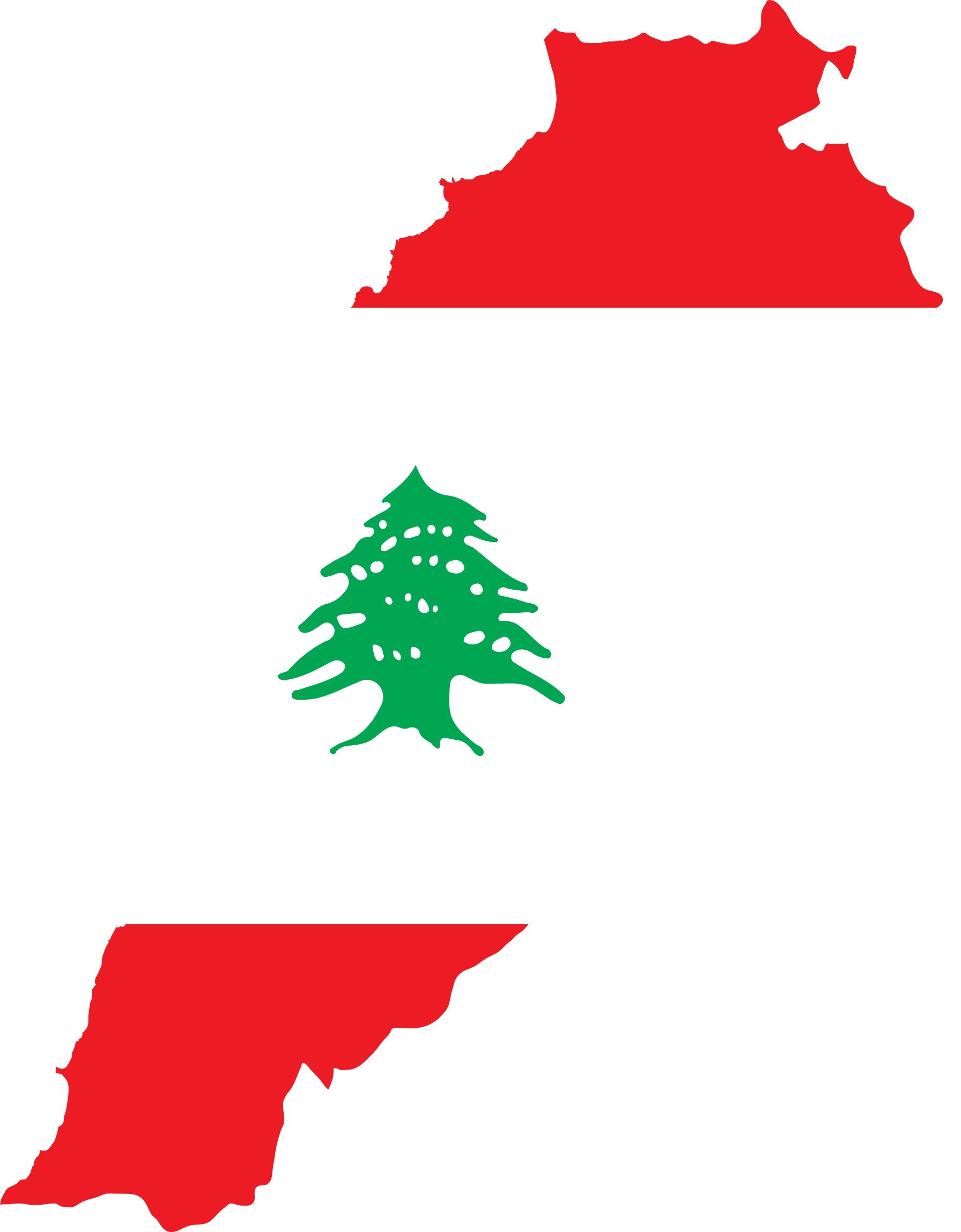 Clipart Lebanon Map Flag - Lebanon map