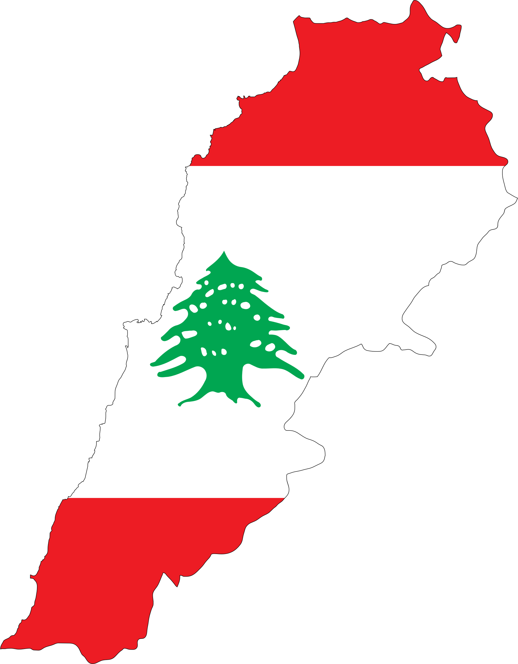 Lebanon Map Flag With Stroke by GDJ