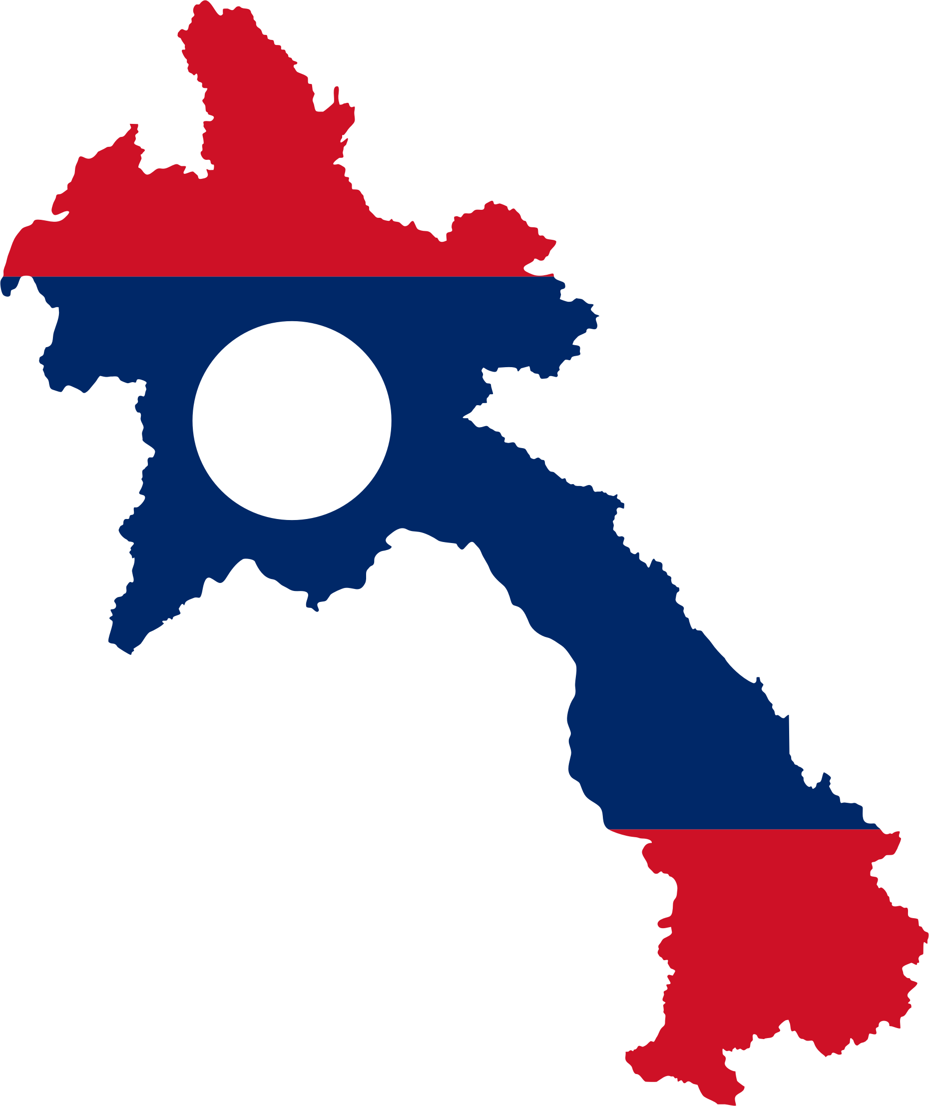 Laos Map Flag by GDJ