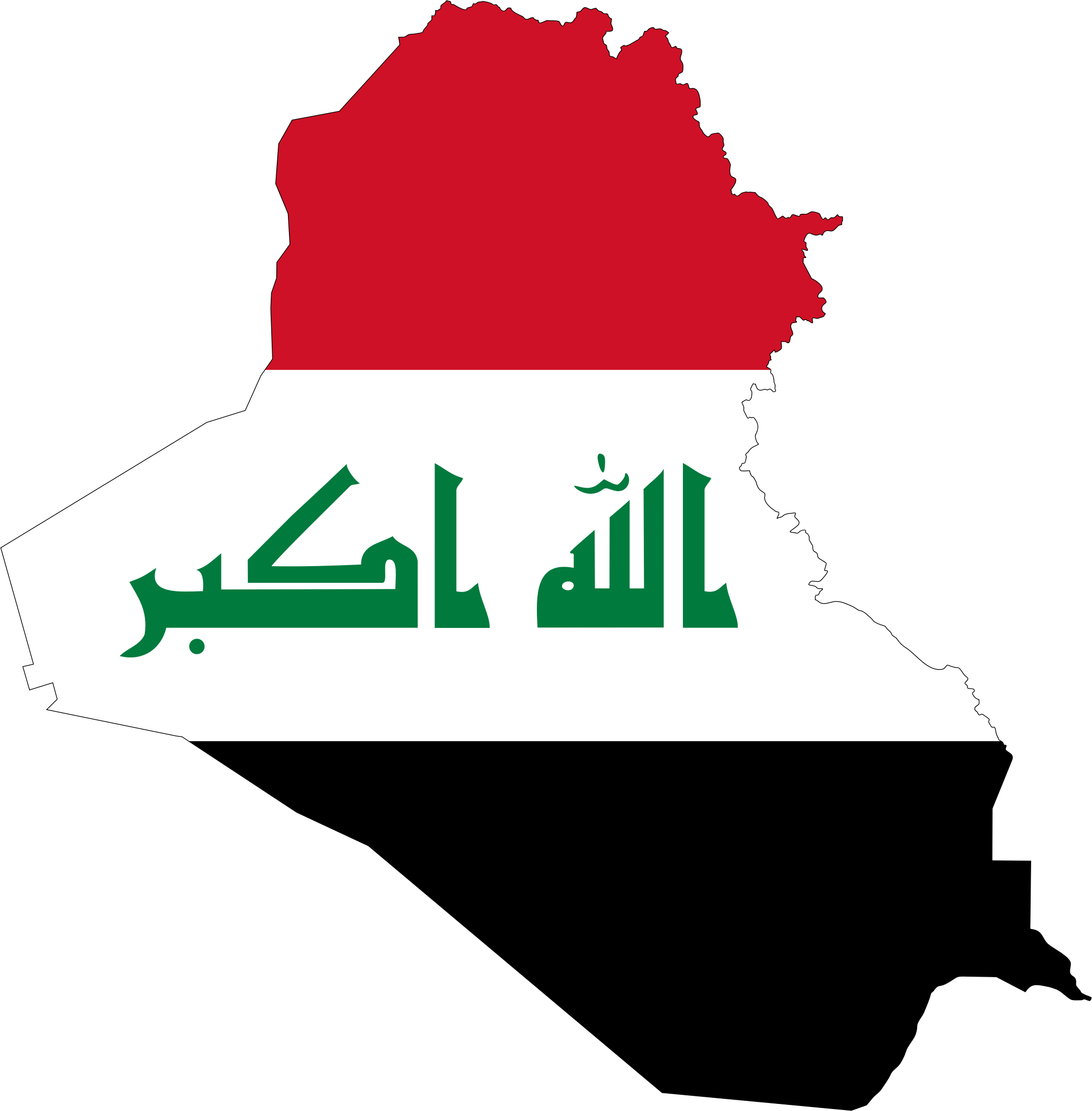 Iraq Map Flag With Stroke by GDJ