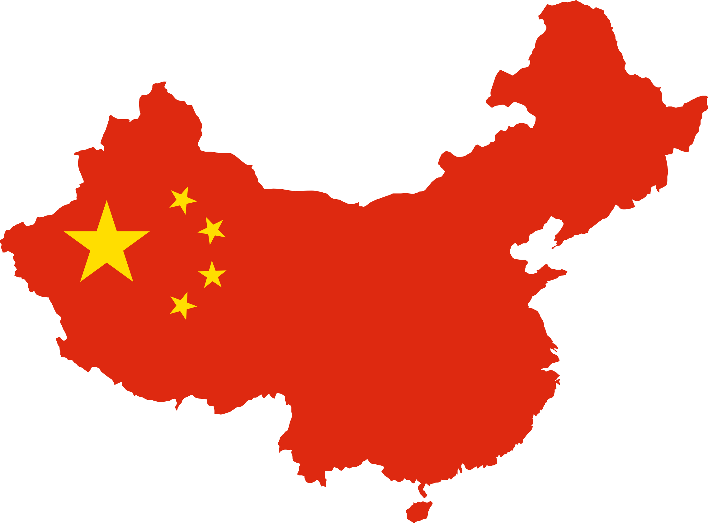 Clipart China Map Flag - Map of china