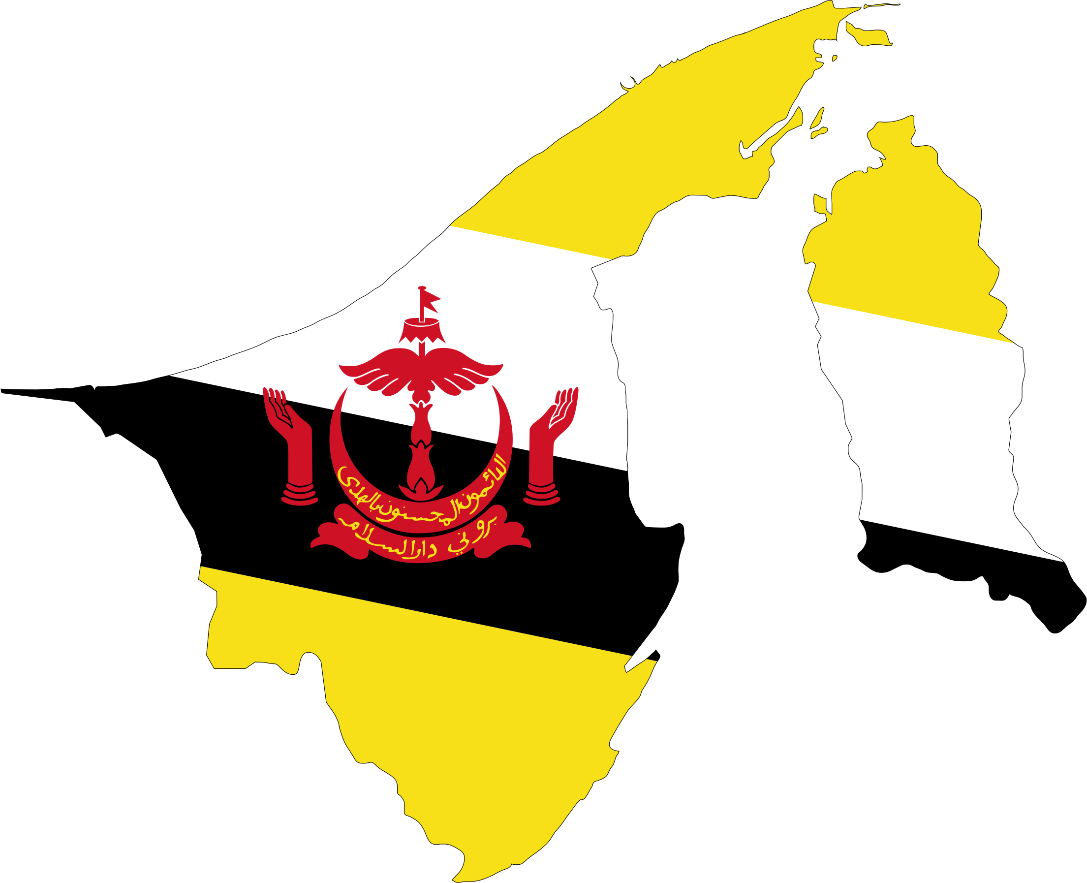 Brunei Map Flag With Stroke by GDJ