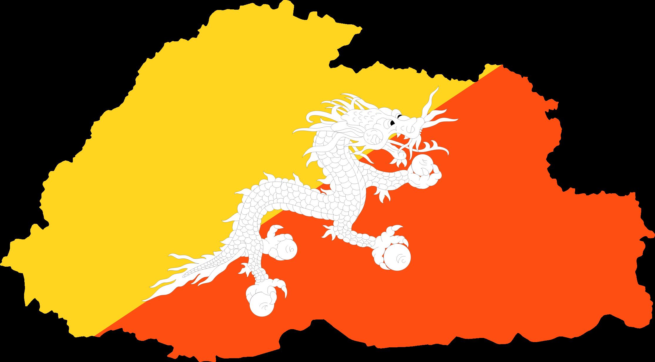 clipart  bhutan map flag - bhutan map flag