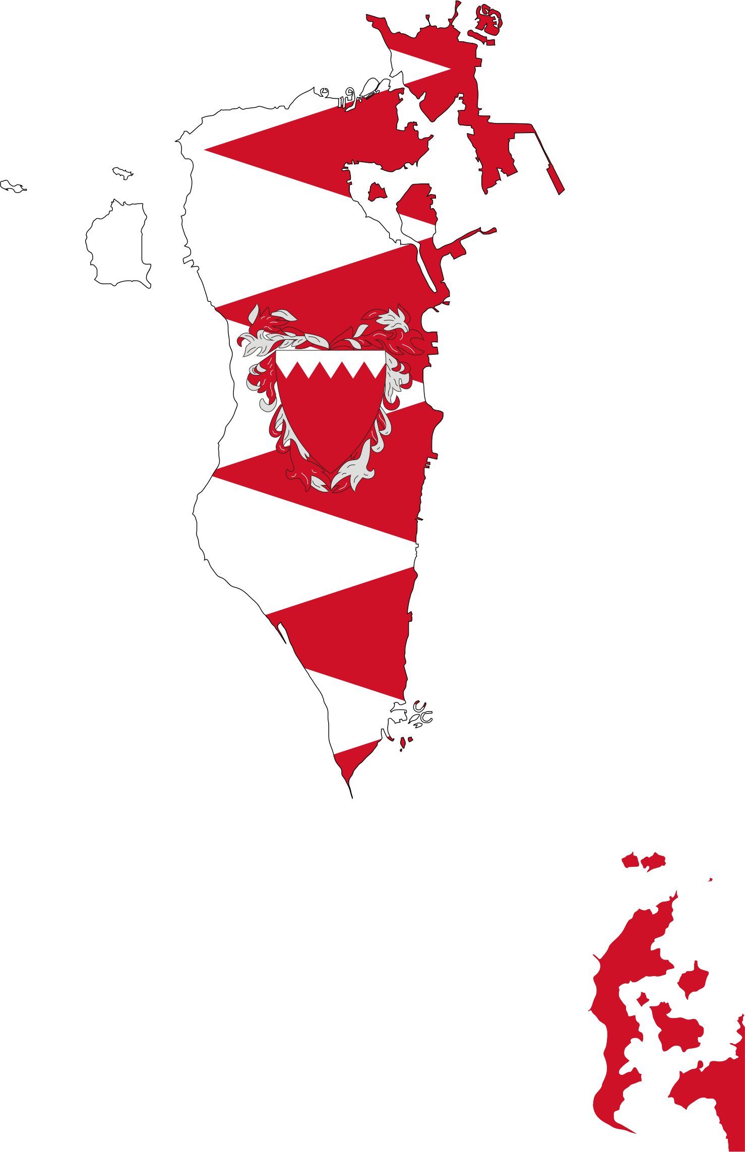 Bahrain Map Flag With Coat Of Arms by GDJ