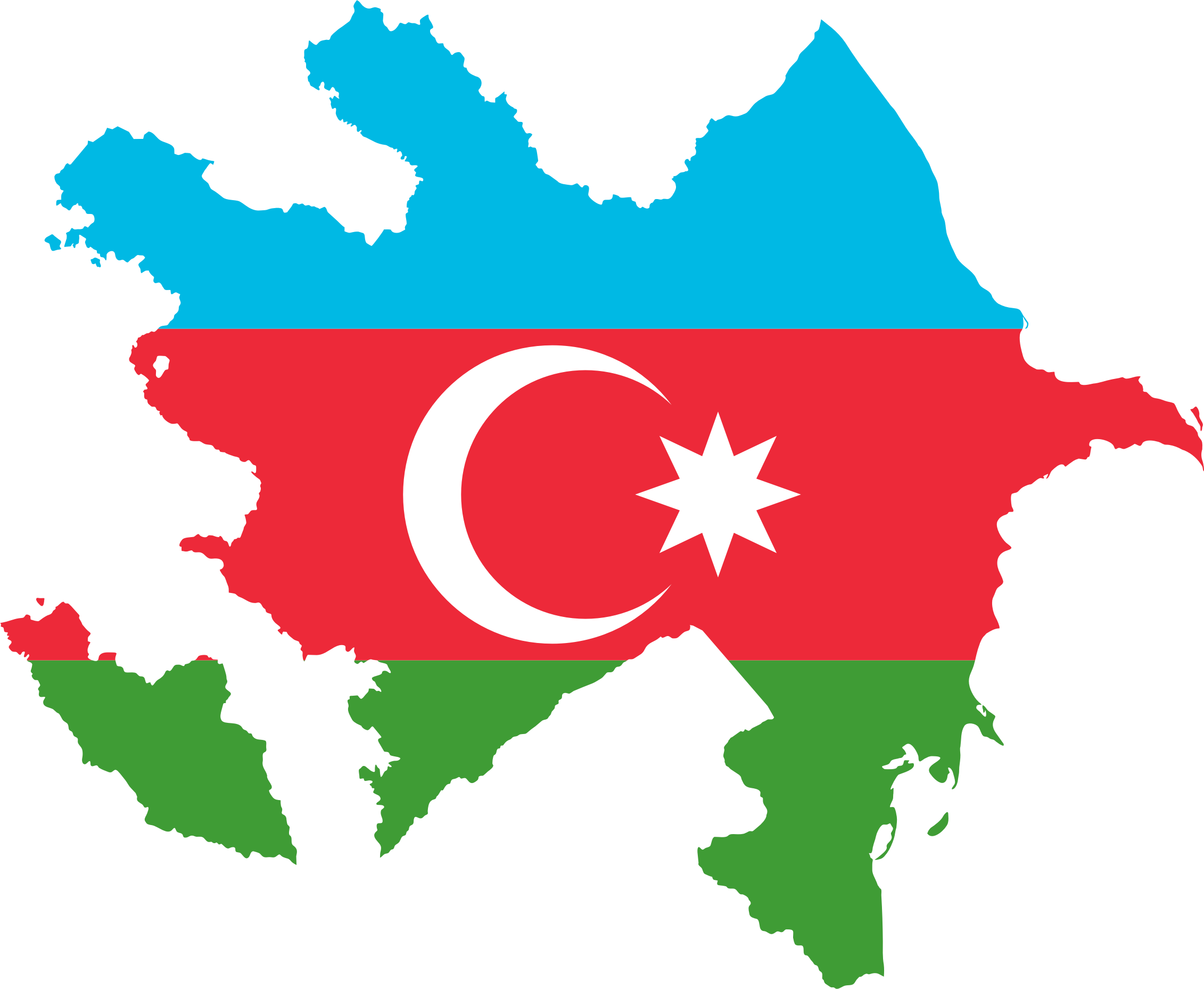 Azerbaijan Map Flag by GDJ