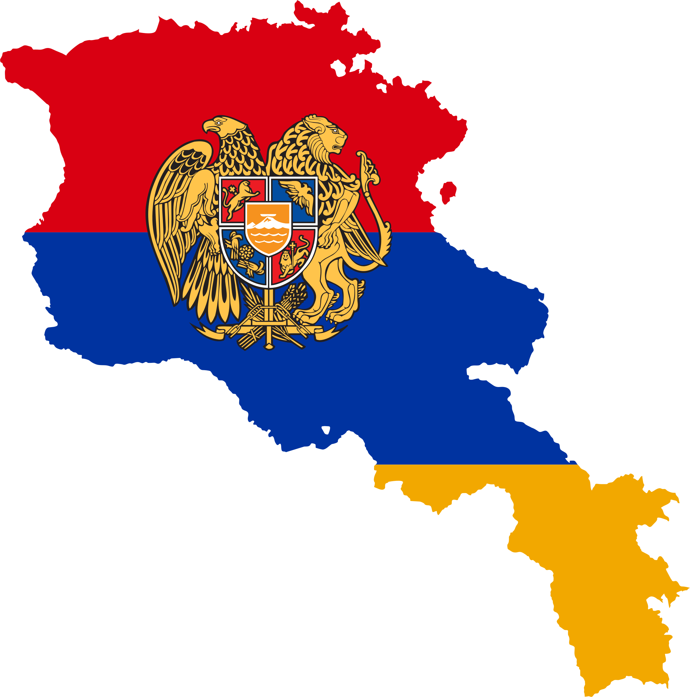 Armenia Map Flag With Coat Of Arms by GDJ