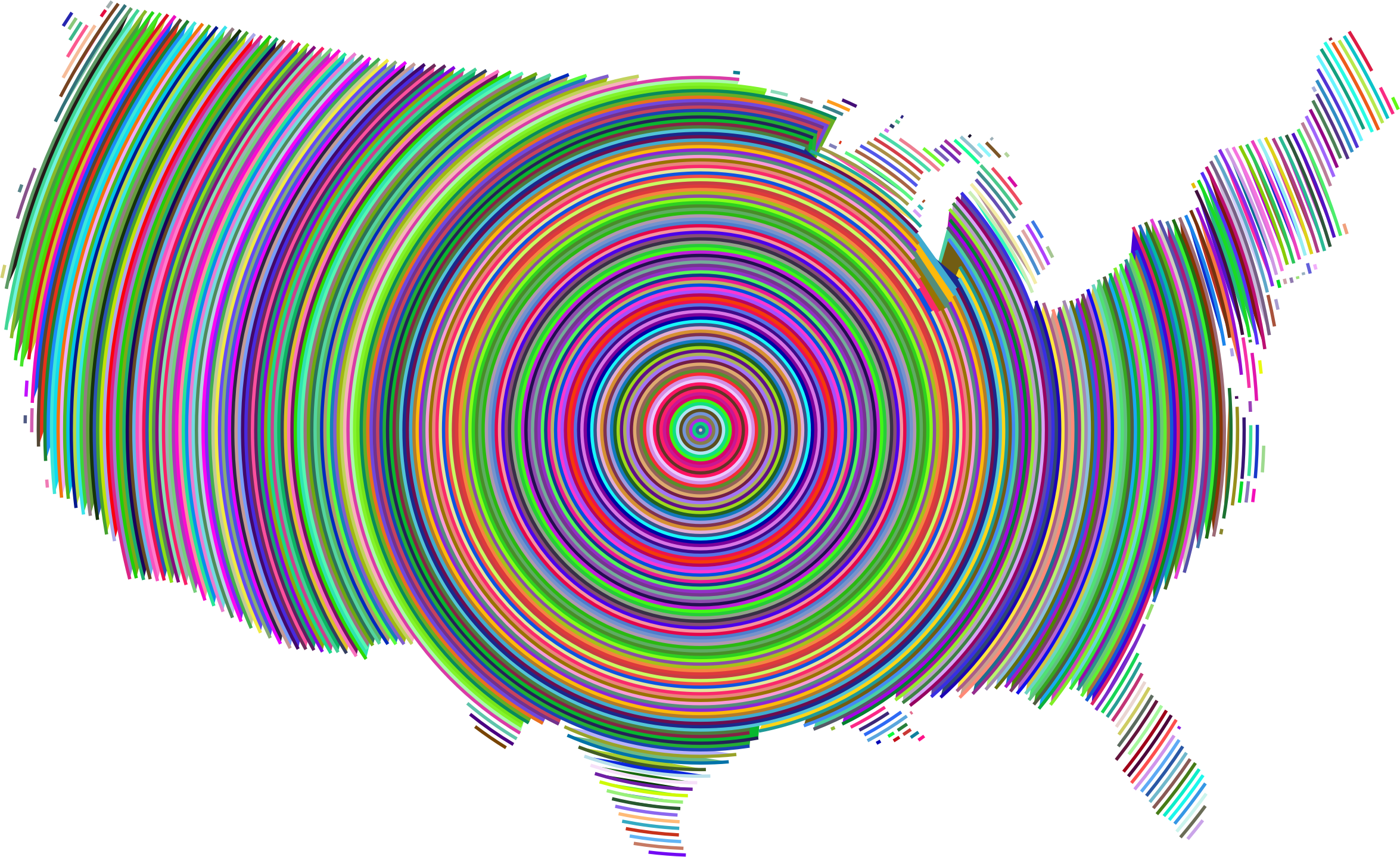 Prismatic United States Concentric Circles by GDJ