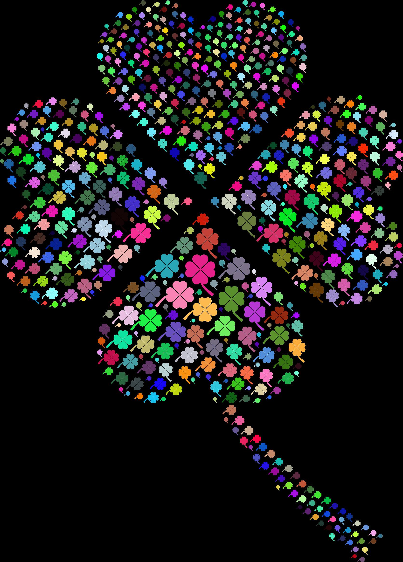 clipart prismatic four leaf clover fractal no background