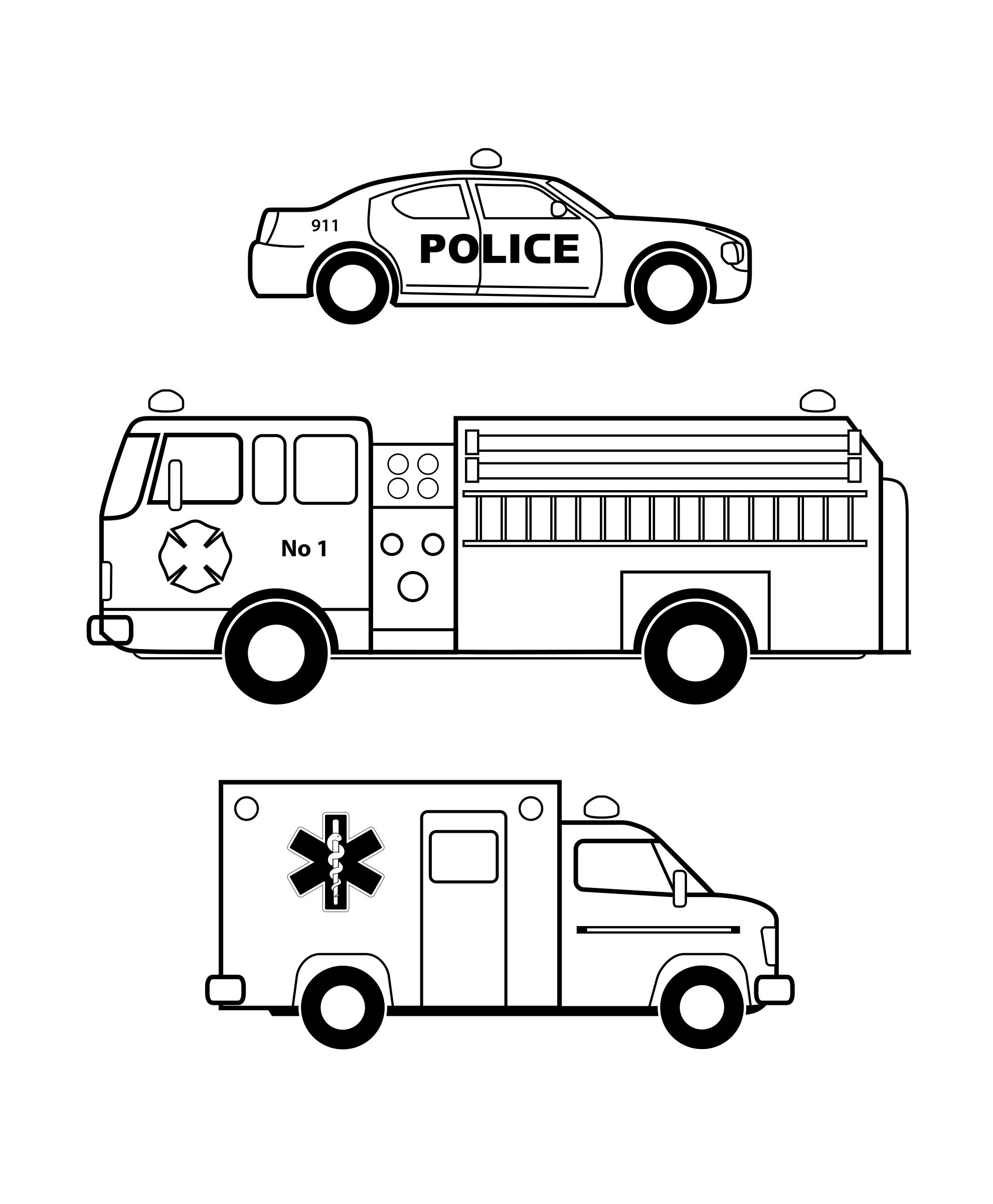 Emergency vehicles black and white by mvolz