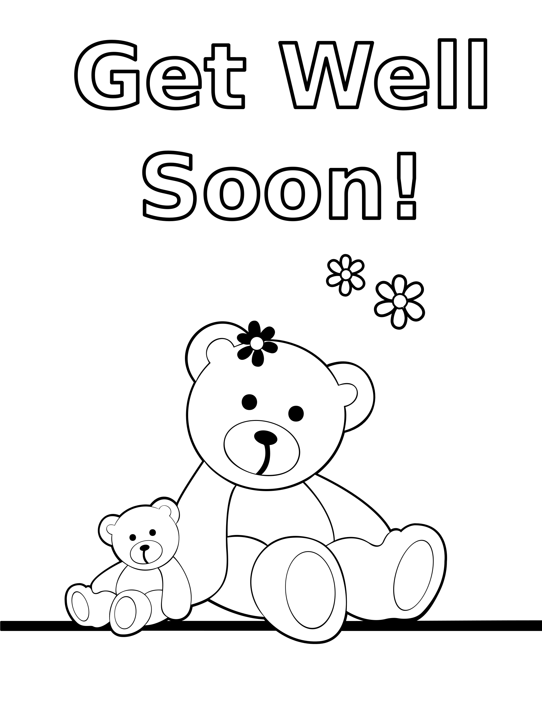 Clipart coloring get well soon teddy bear card for Get well soon card coloring pages