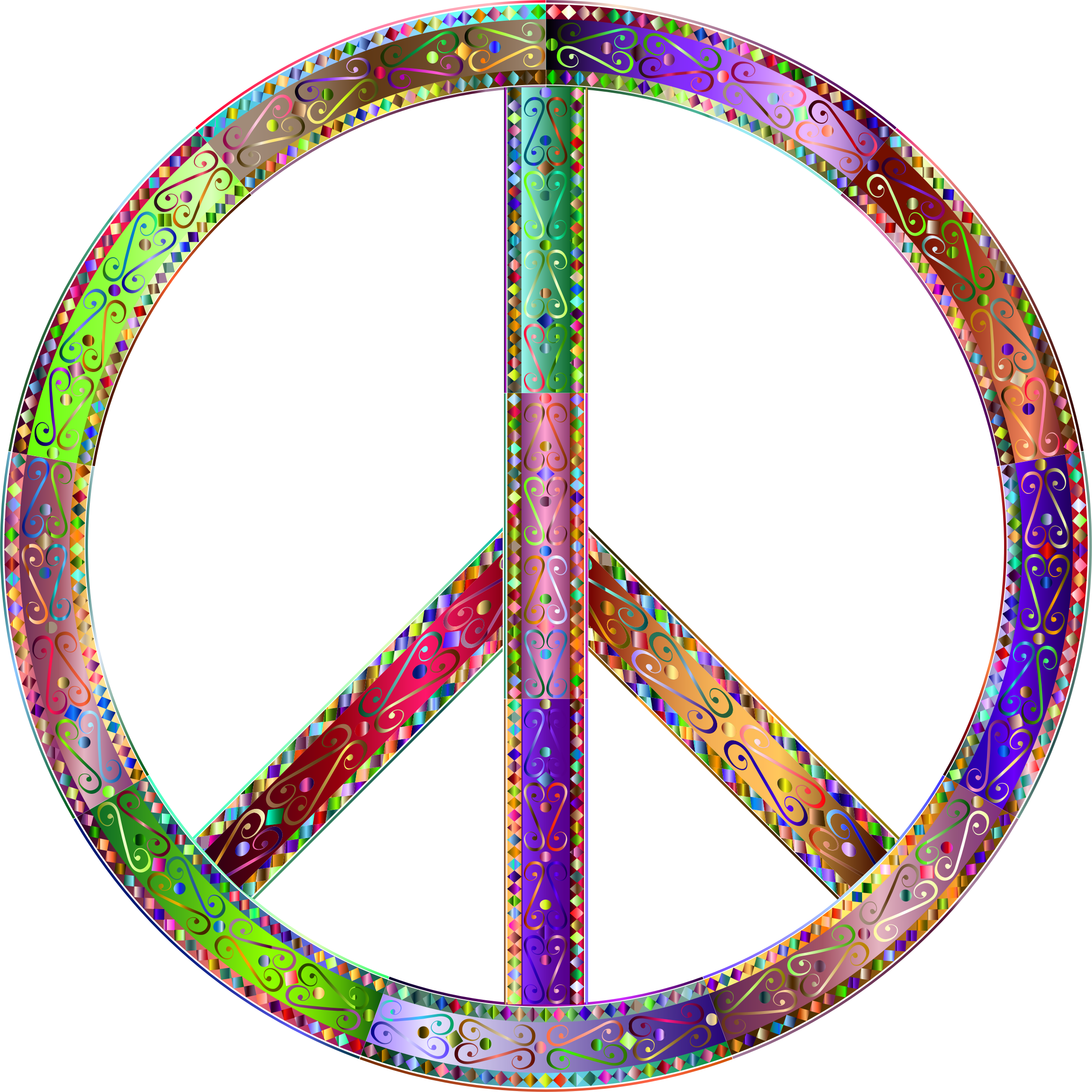 Prismatic Decorative Ornamental Peace Sign 2 by GDJ