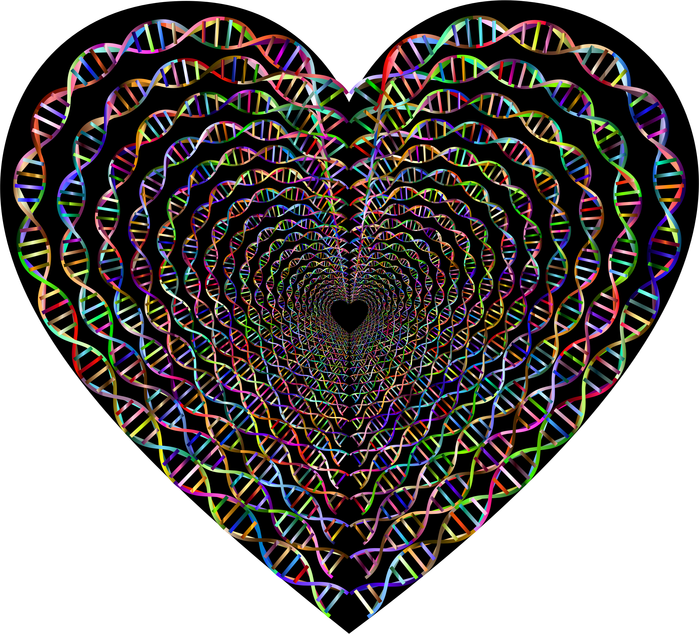 Chromatic DNA Helix Heart Tunnel by GDJ