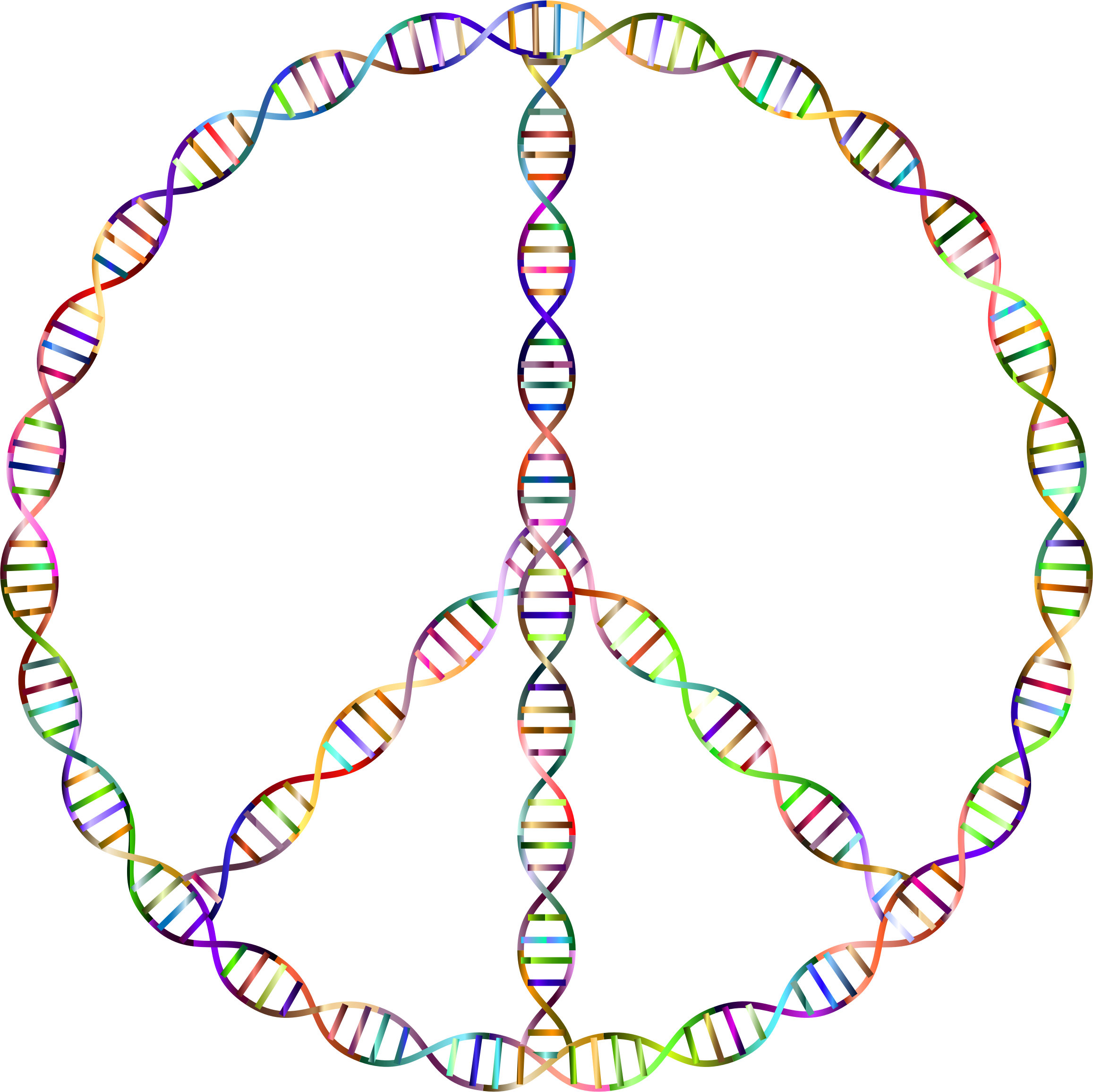 Chromatic DNA Helix Peace Sign by GDJ