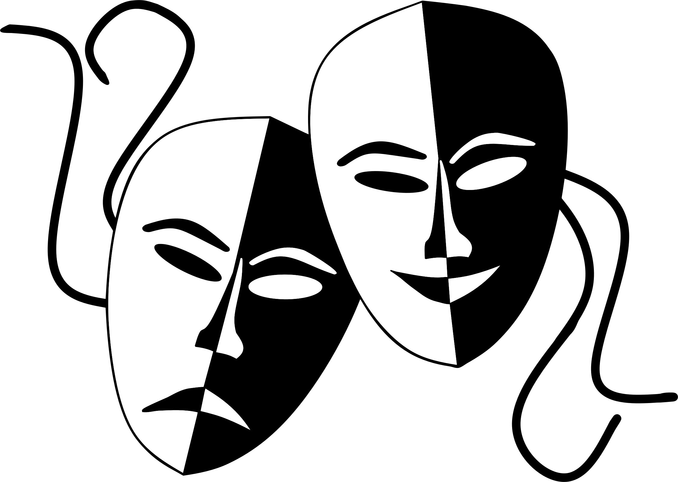clipart tragedy and comedy theater masks Drama Clip Art Black and White Drama Clip Art Black and White
