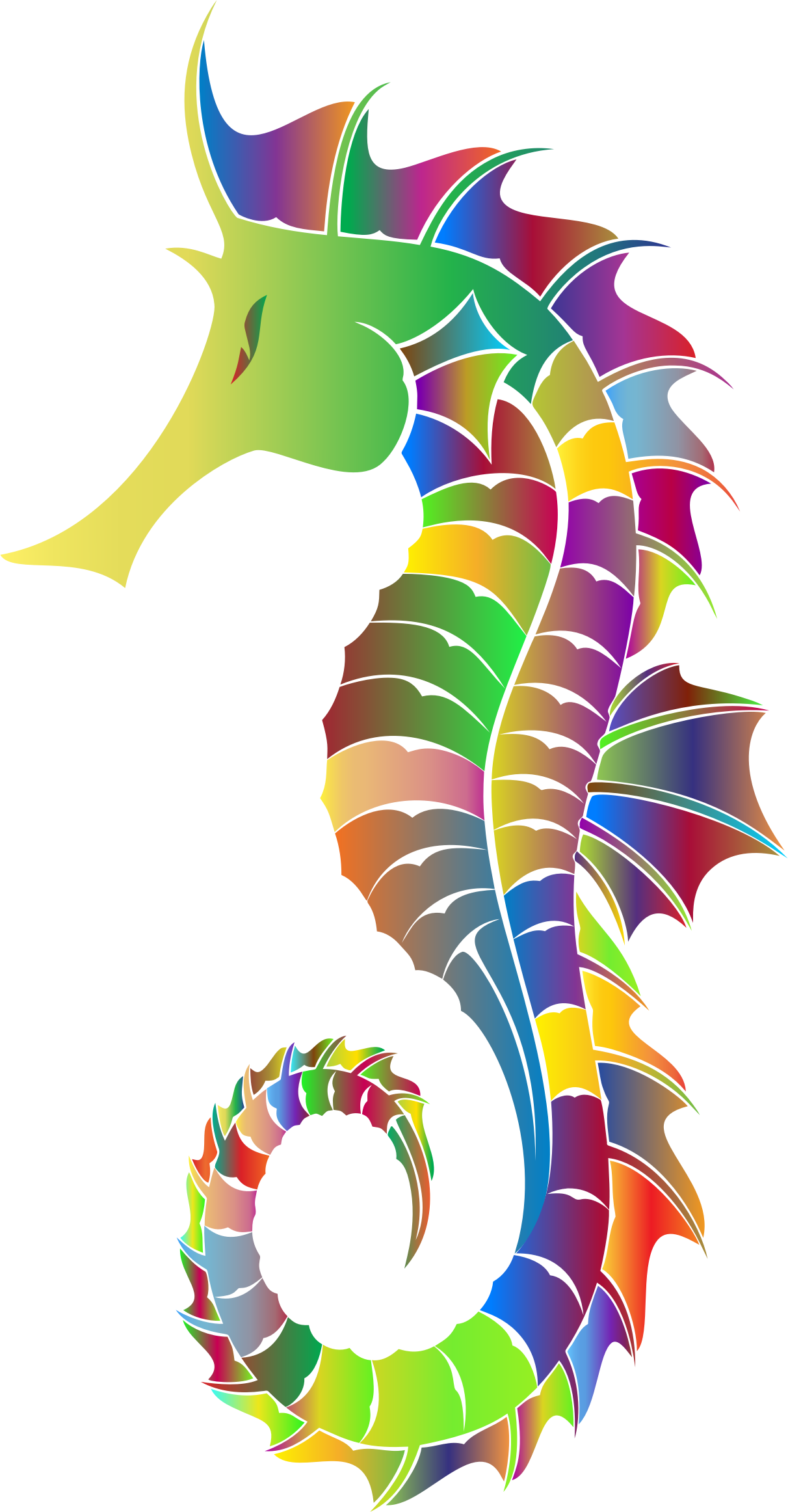Prismatic Detailed Seahorse Silhouette by GDJ