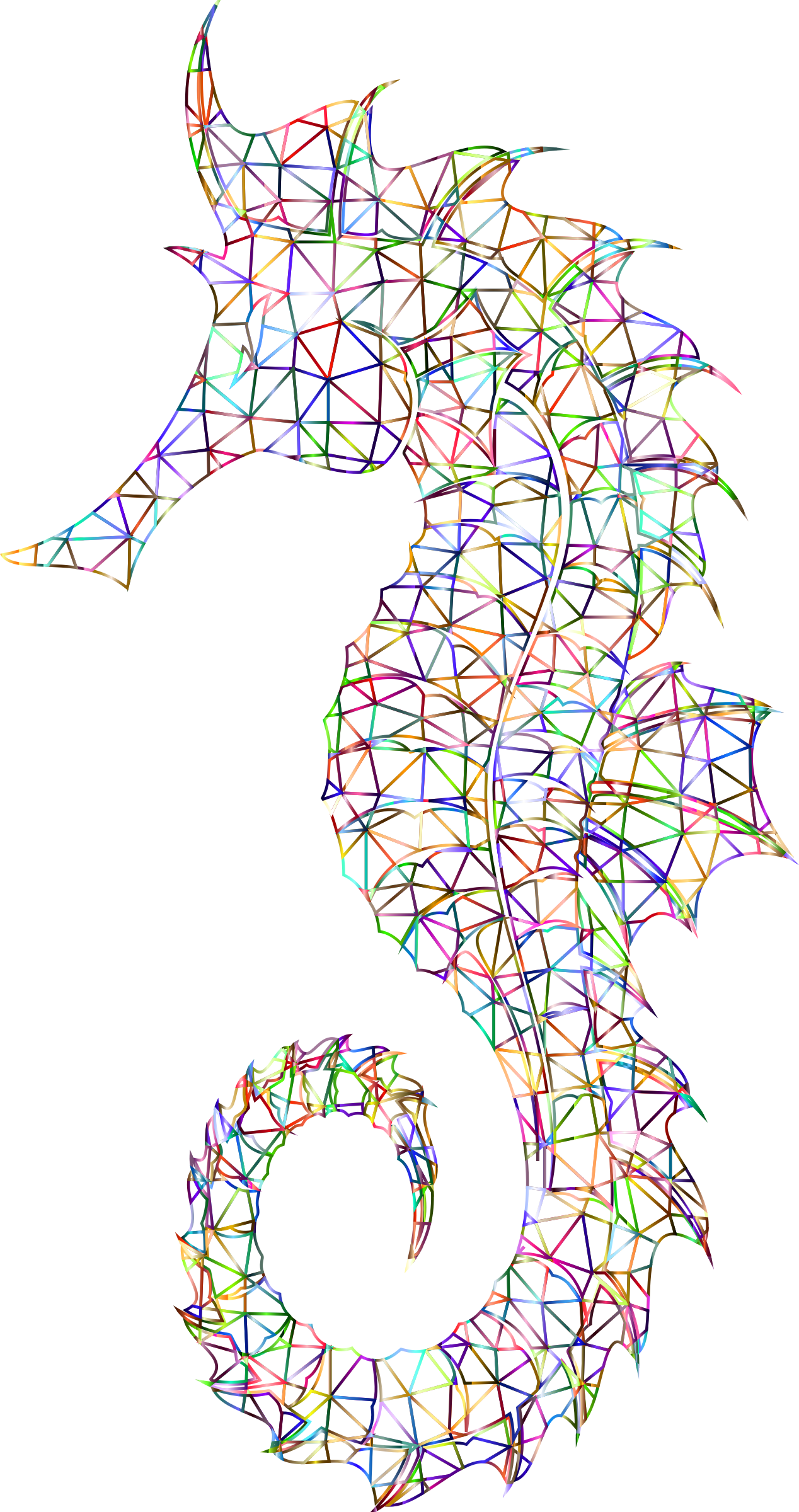 Prismatic Detailed Seahorse Wireframe No Background by GDJ