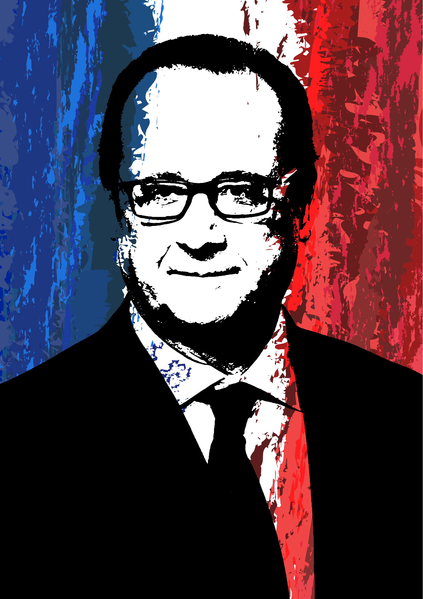 Portrait of François Hollande on a French Flag Background by GangandInfographie