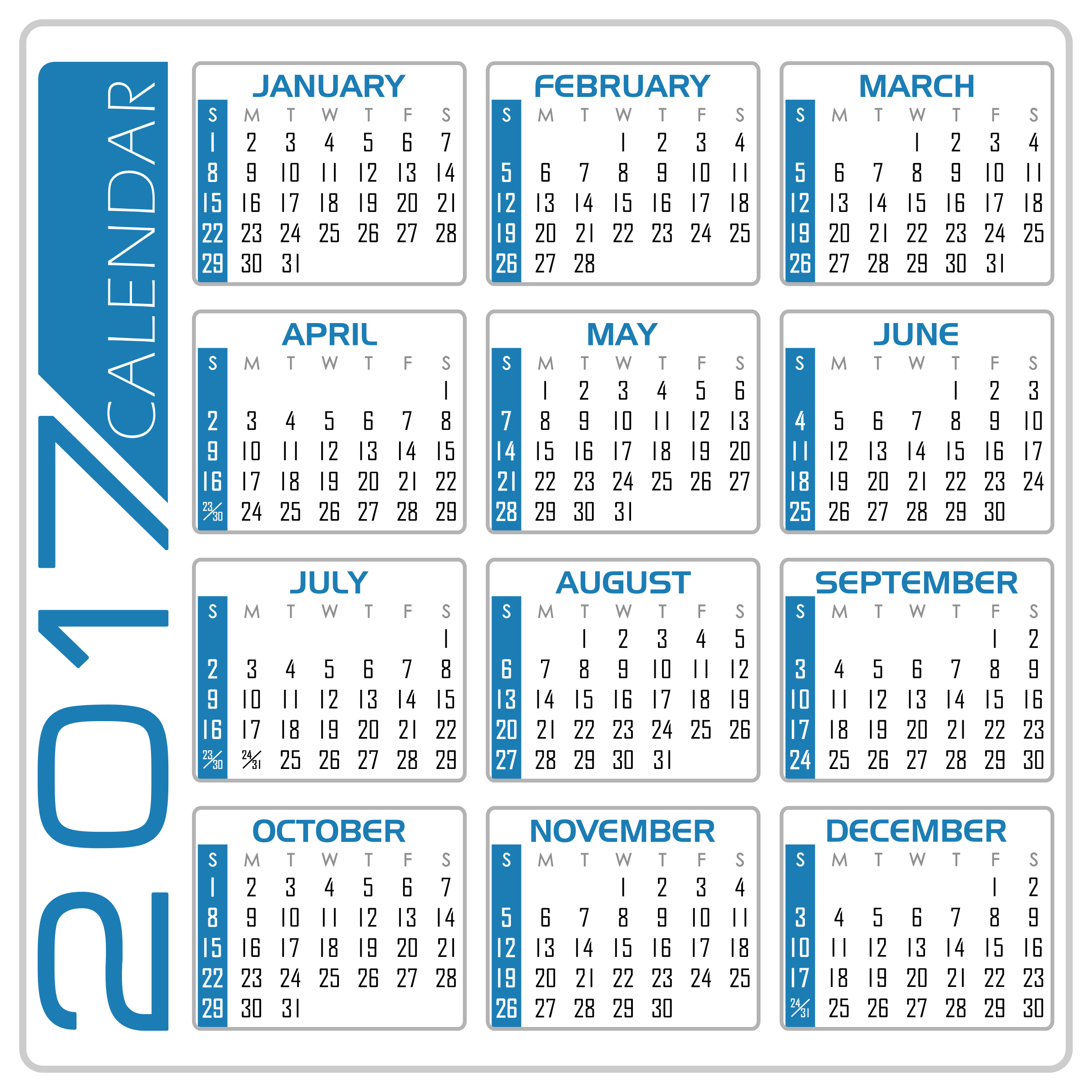 Clipart - Calendar 2017 - English Version (White and Blue)
