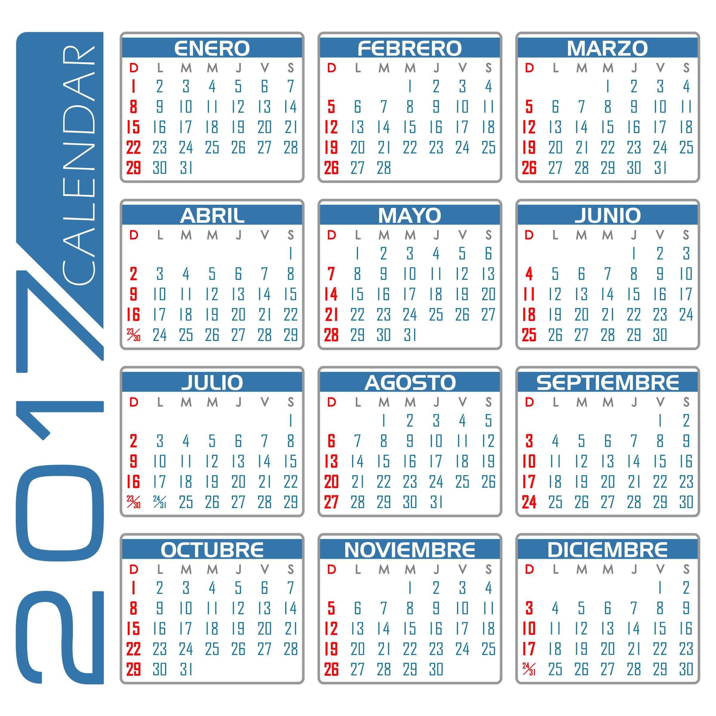 Calendario 2017 espanol for Clipart calendario