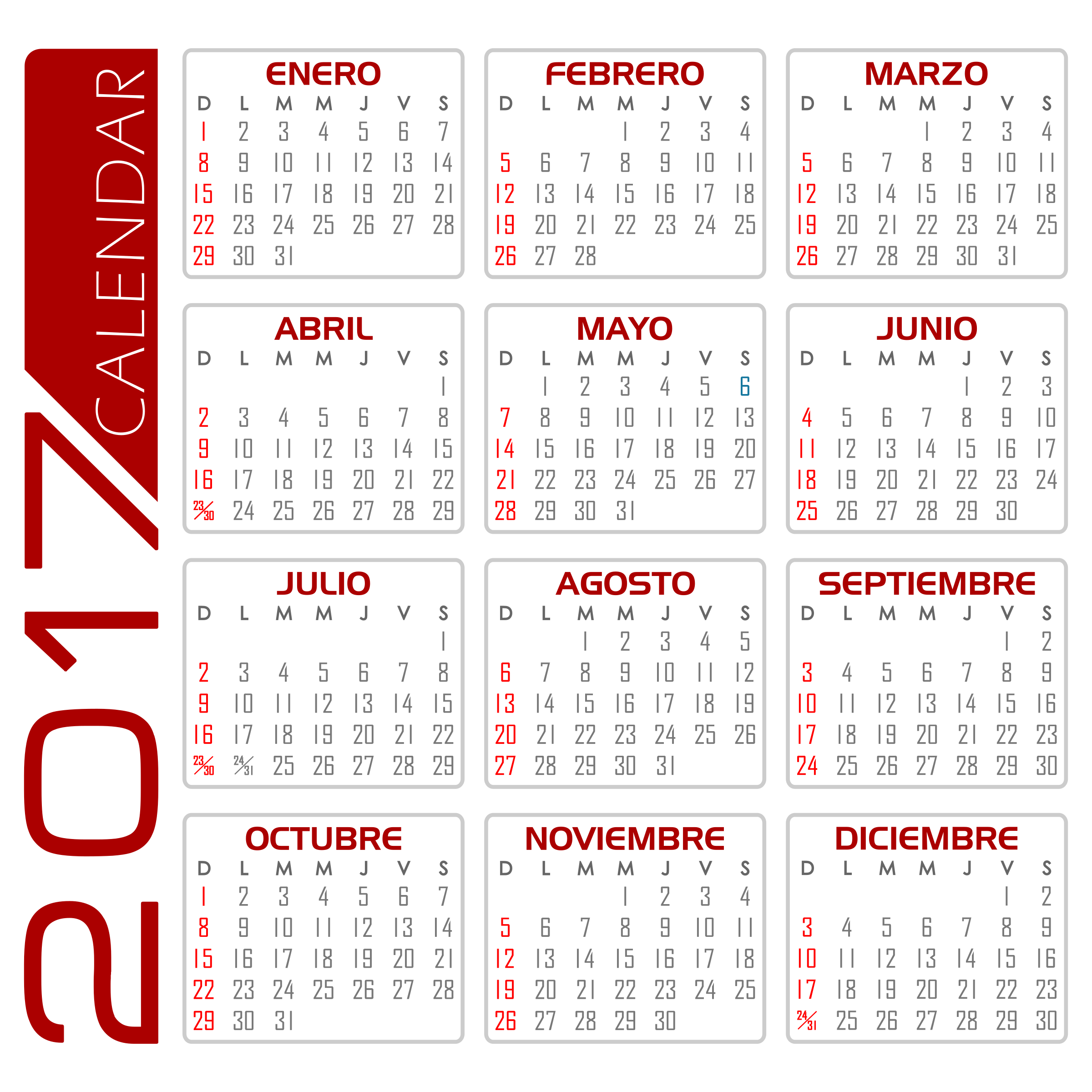 Calendario 2017 – Español (Blanco y Rojo) by DG-RA