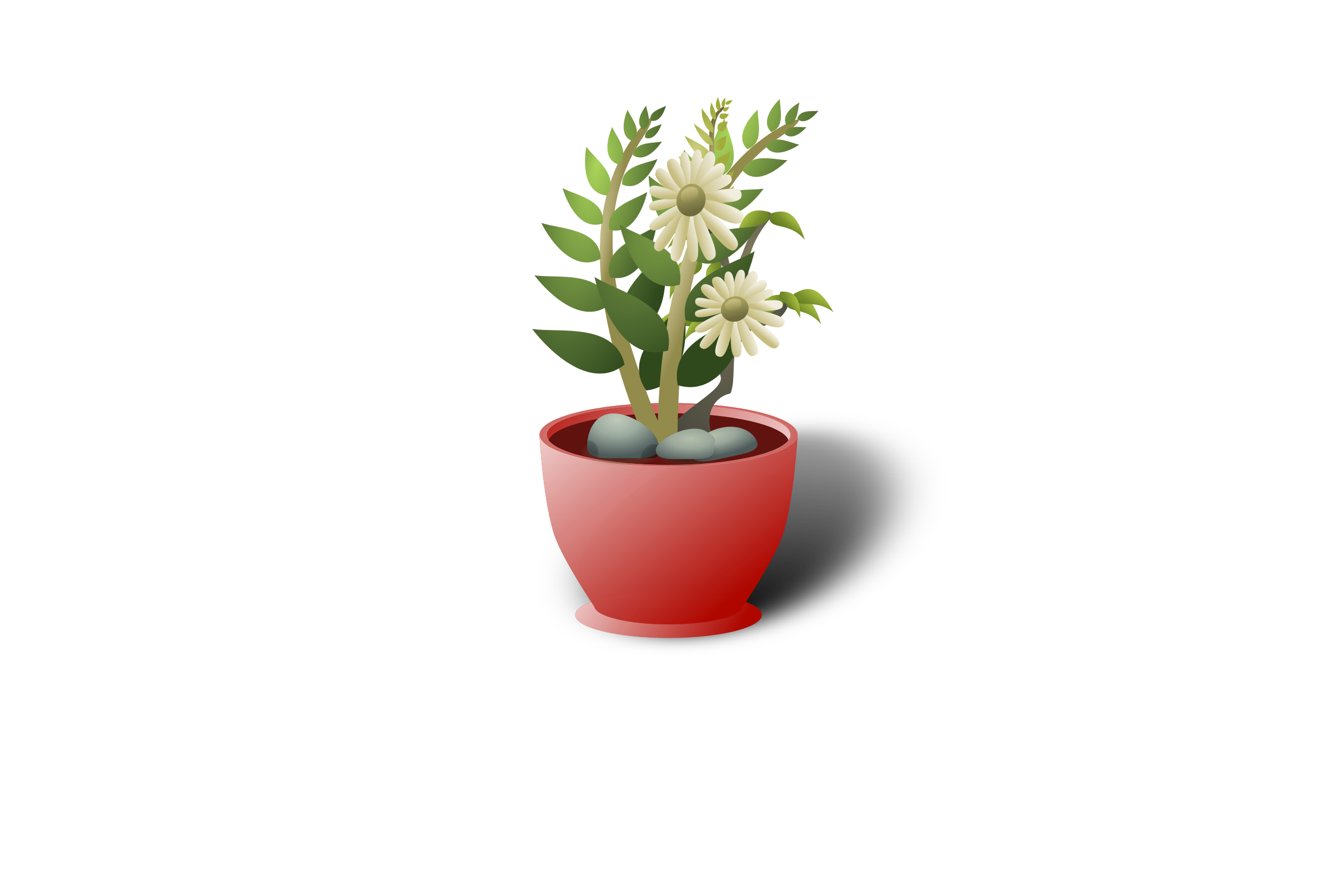 white flower pot by cg4share