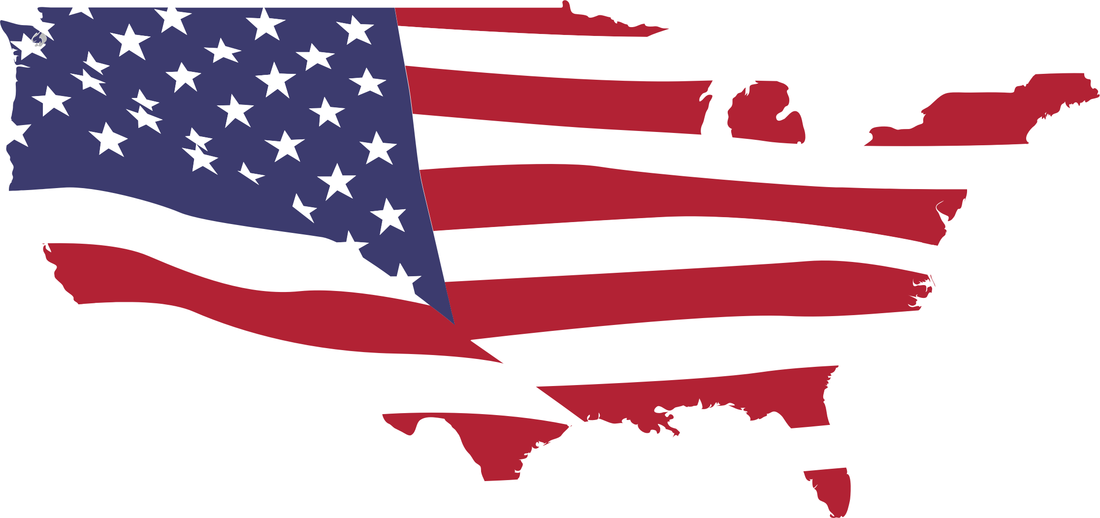 Clipart USA Map Flag Without Alaska Puerto Rico And Hawaii - Usa map with hawaii and alaska