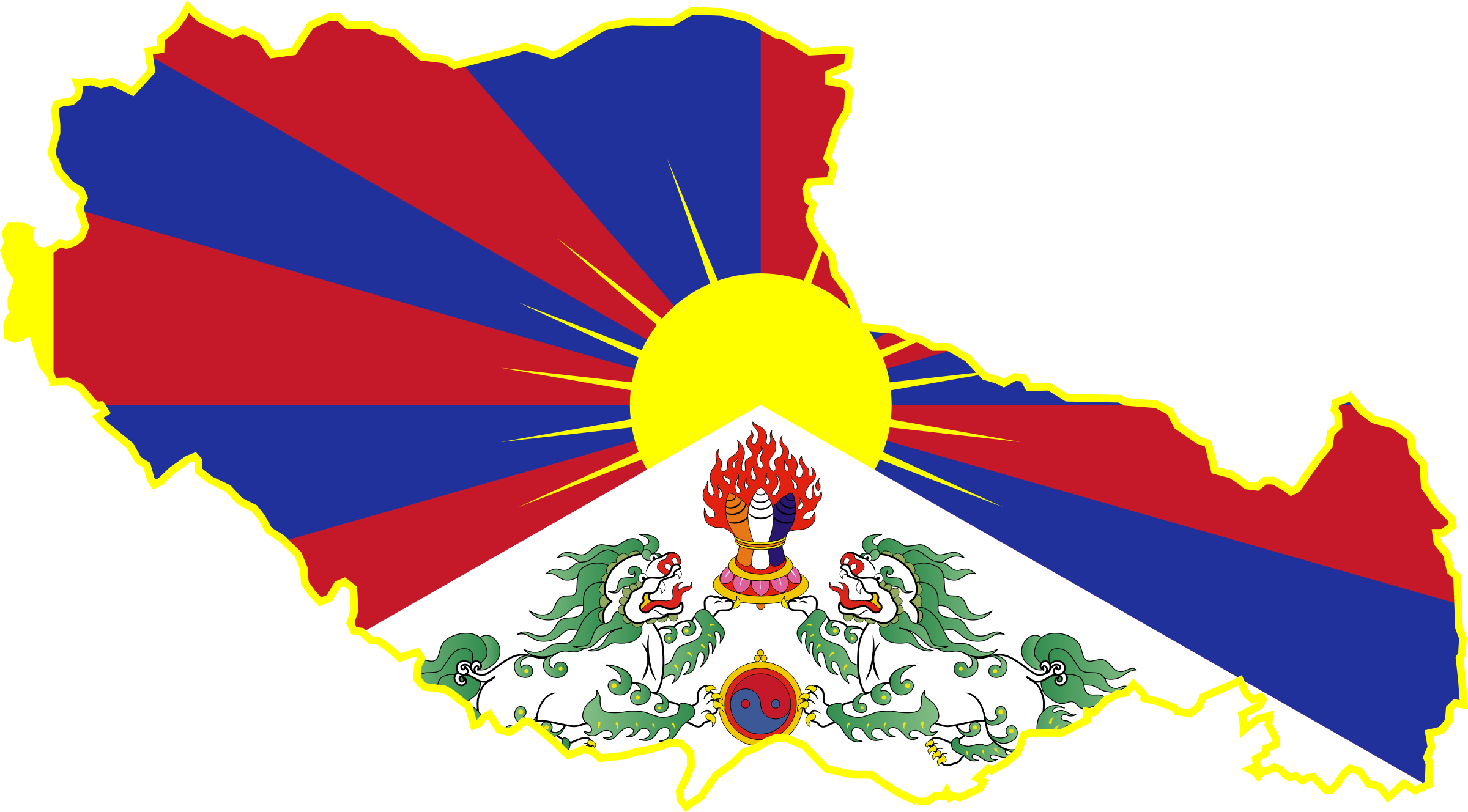 Tibet map flag by Clon