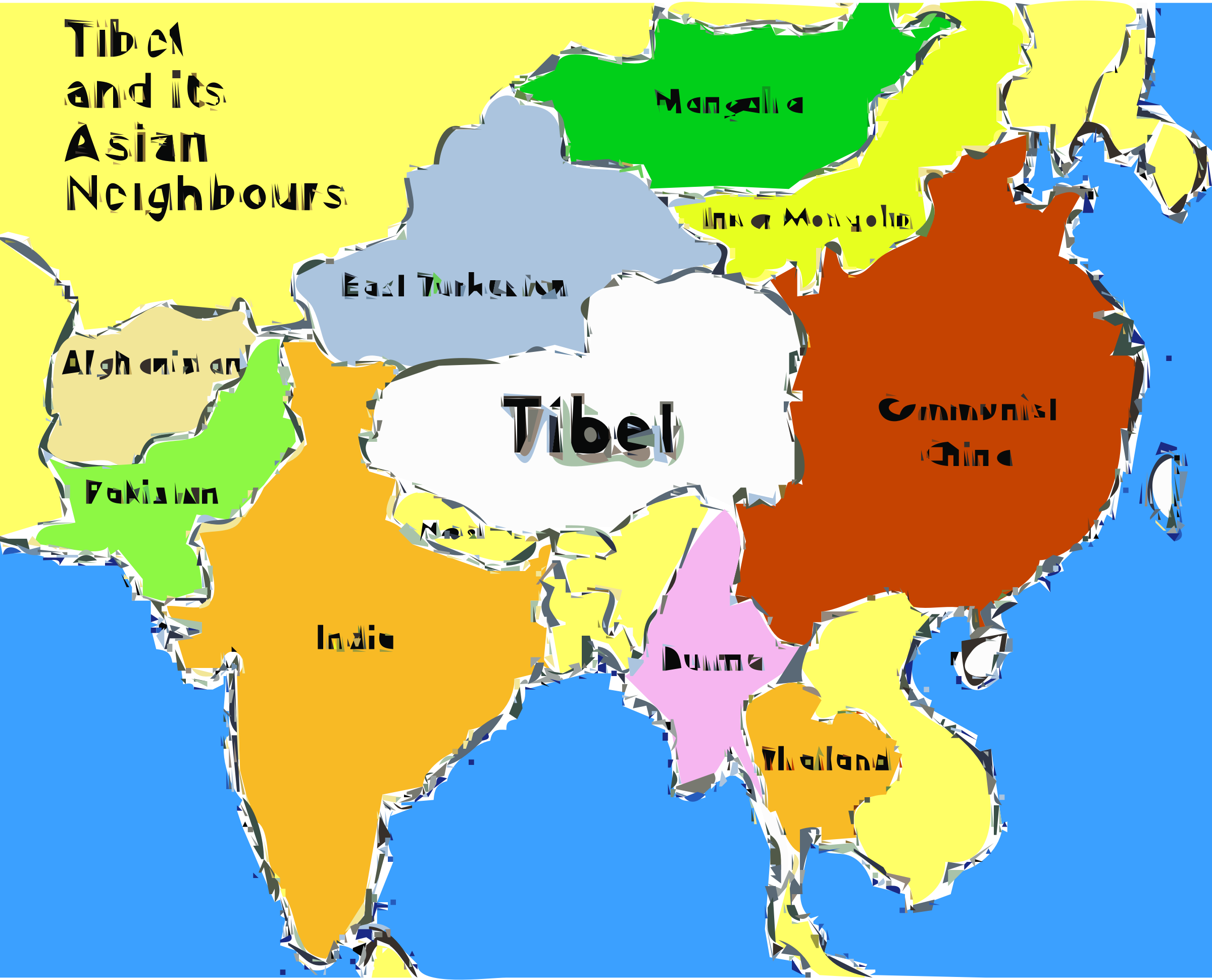 Tibet map by getaume