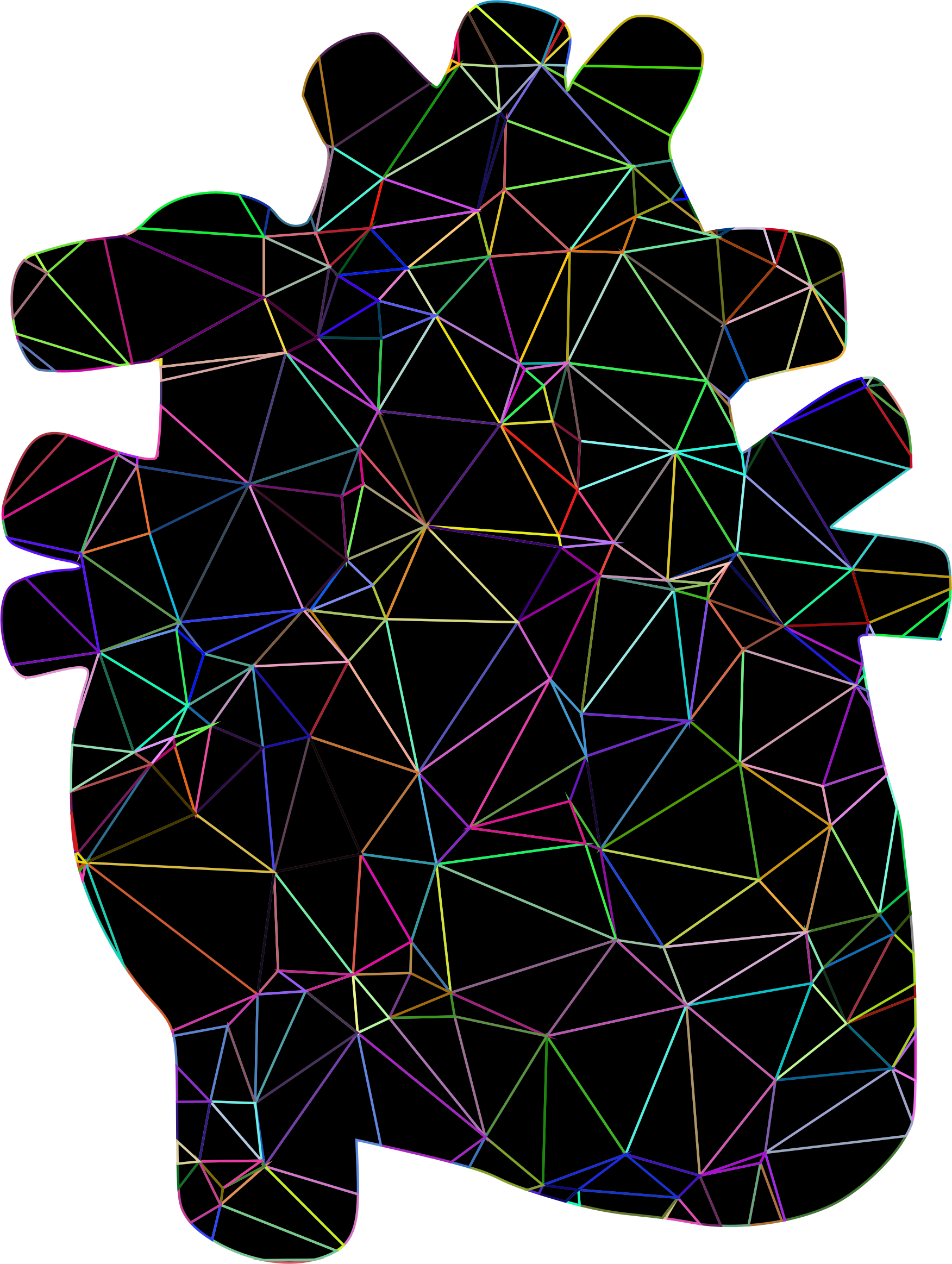 Prismatic Spacefem Low Poly Wireframe Heart With Background by GDJ