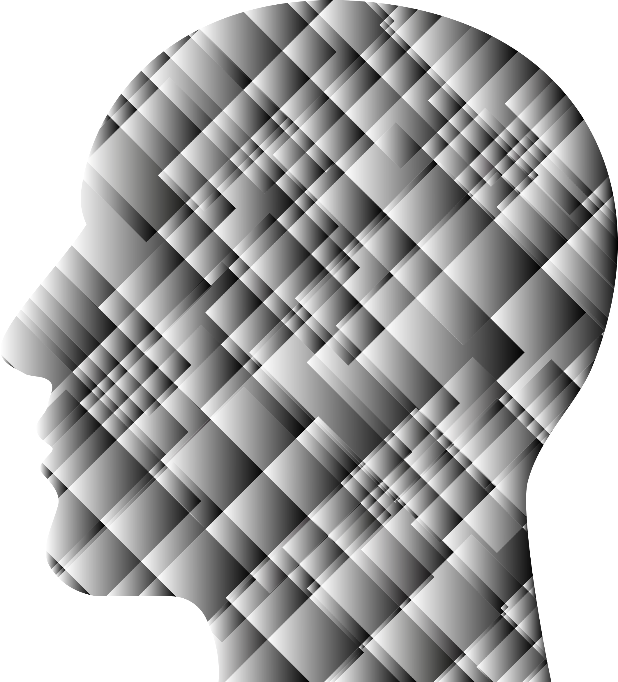 Grayscale Patchwork Man Head by GDJ