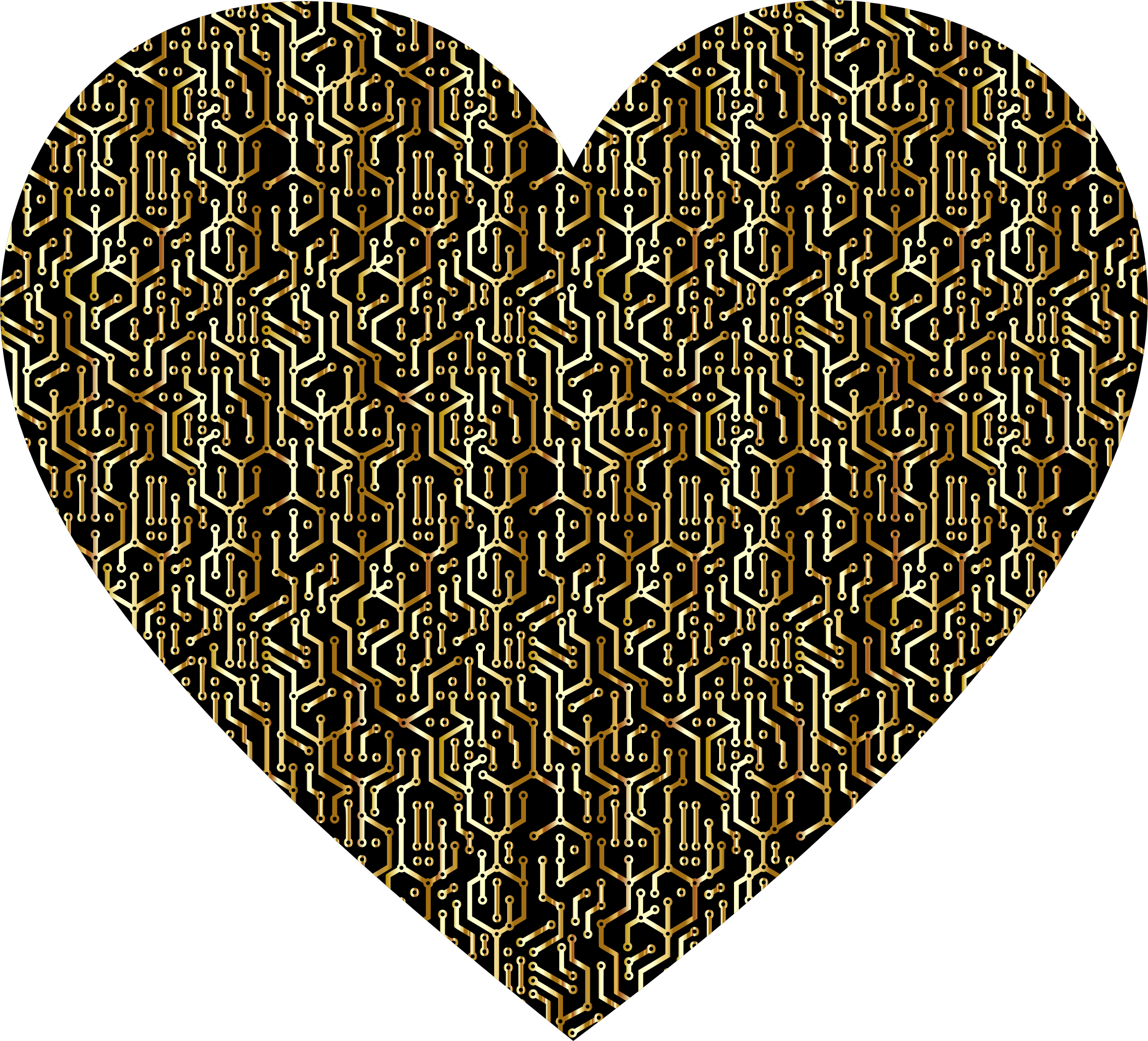 Gold Electronic Heart by GDJ