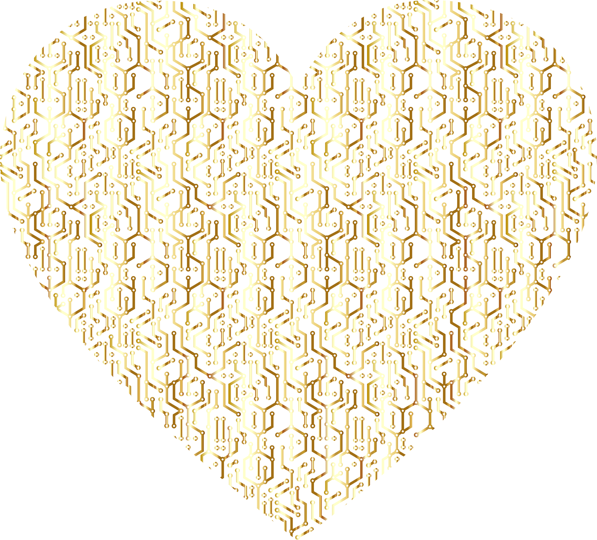 Gold Electronic Heart No Background by GDJ