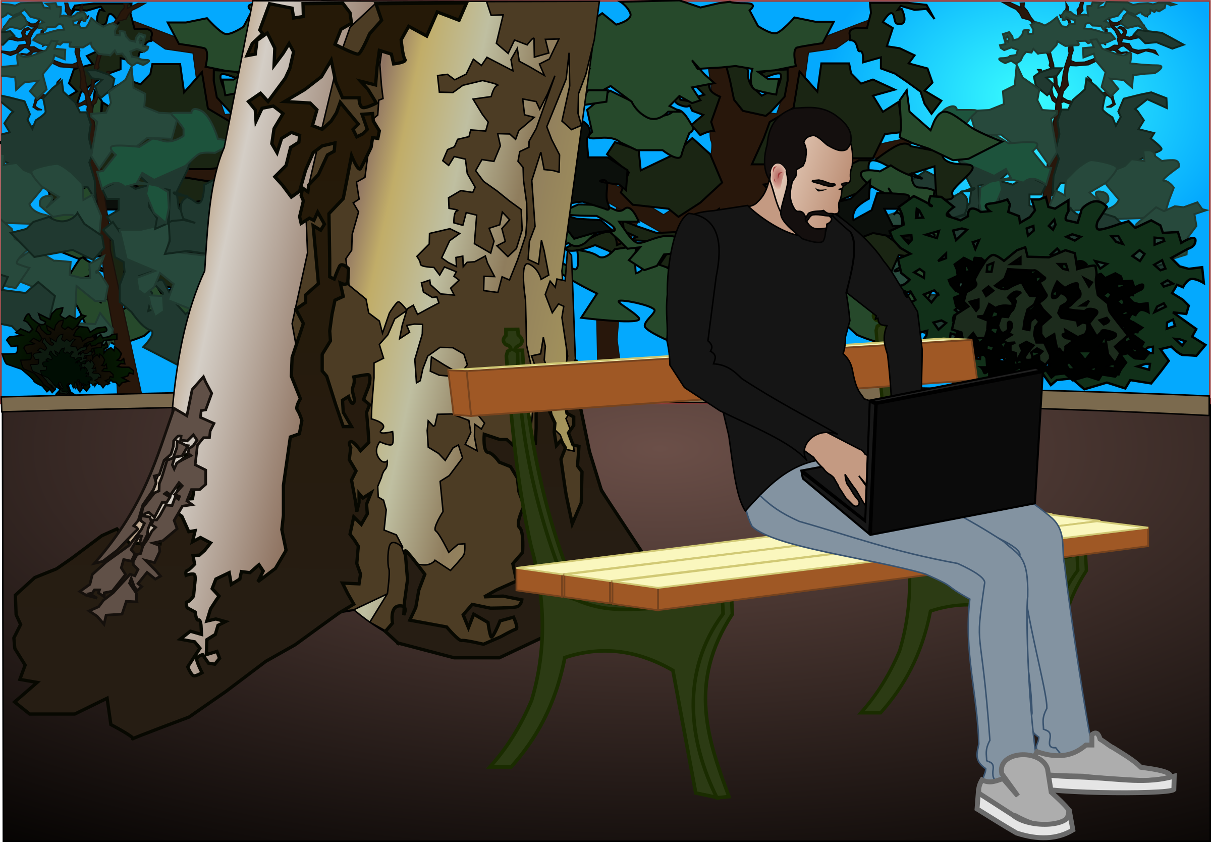 Man on a bench at the park with a laptop by computateorg