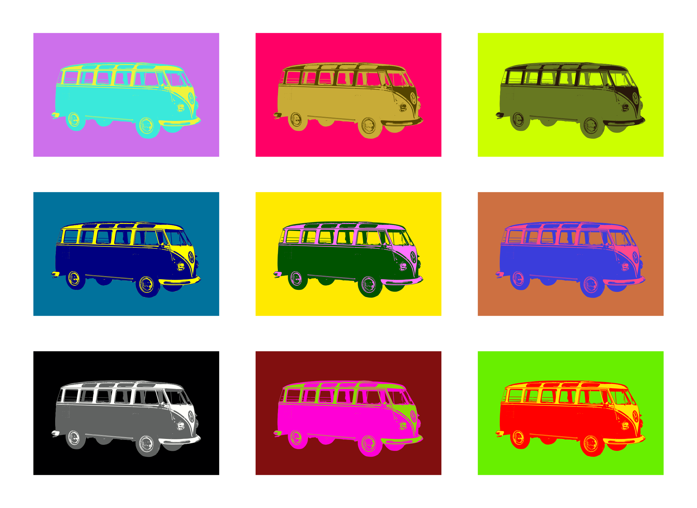 Pop art tribute to the mythical Volkswagen T1 - Type 2 by laftello