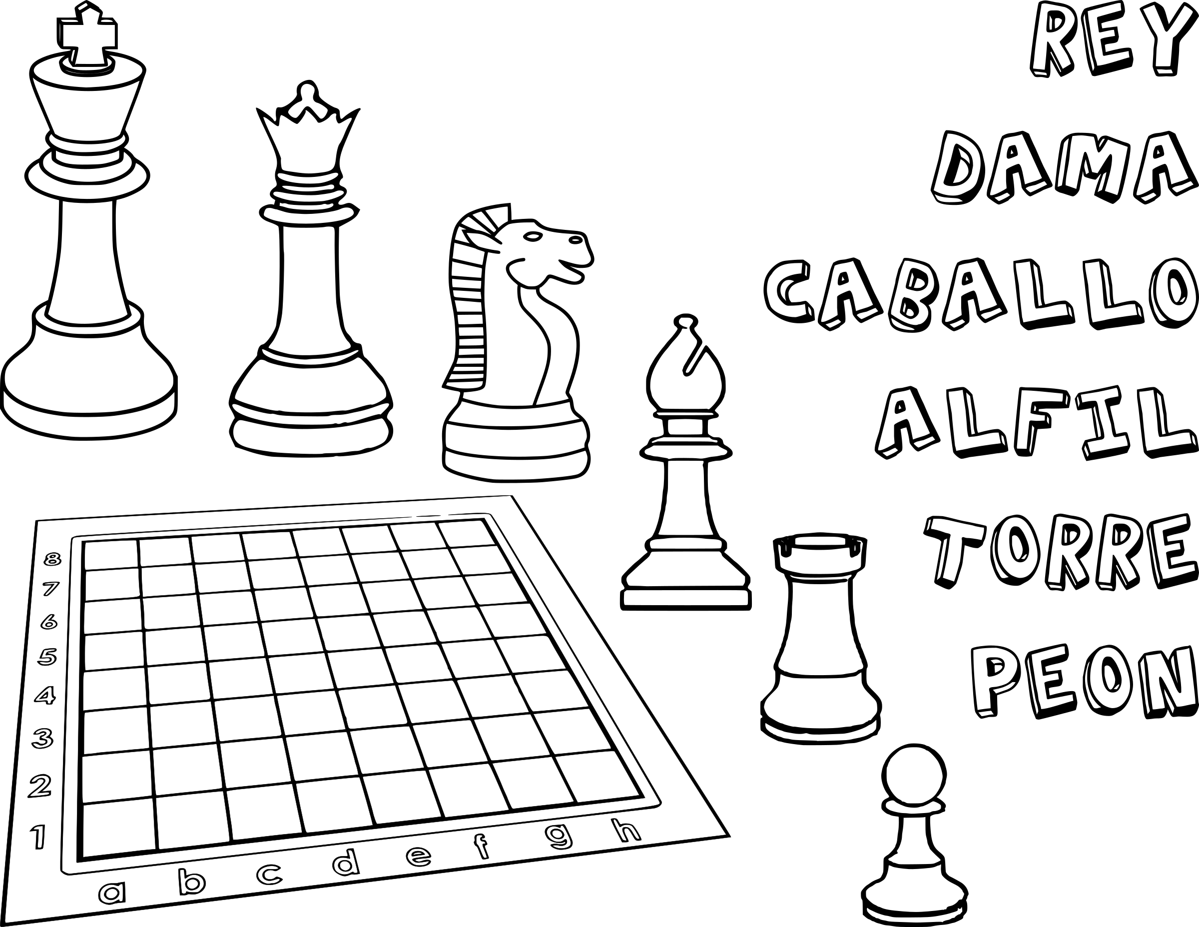 Chess Coloring Book  / Dibujo Ajedrez para colorear -1- by DG-RA