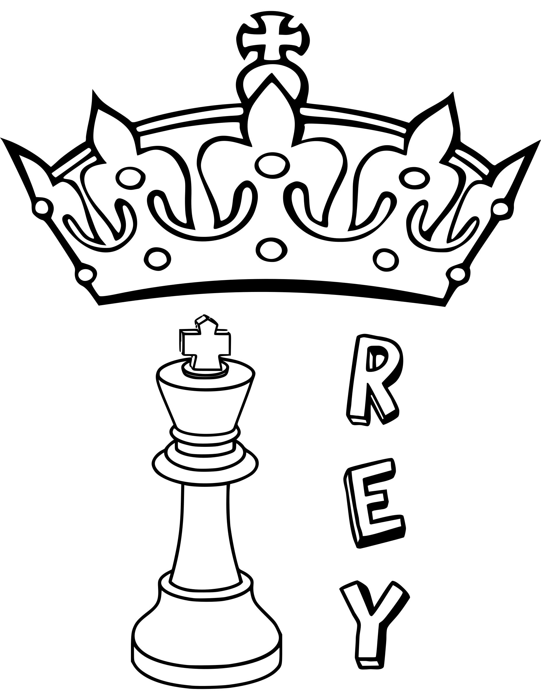 Clipart - Chess coloring book / Dibujo Ajedrez para colorear -3-