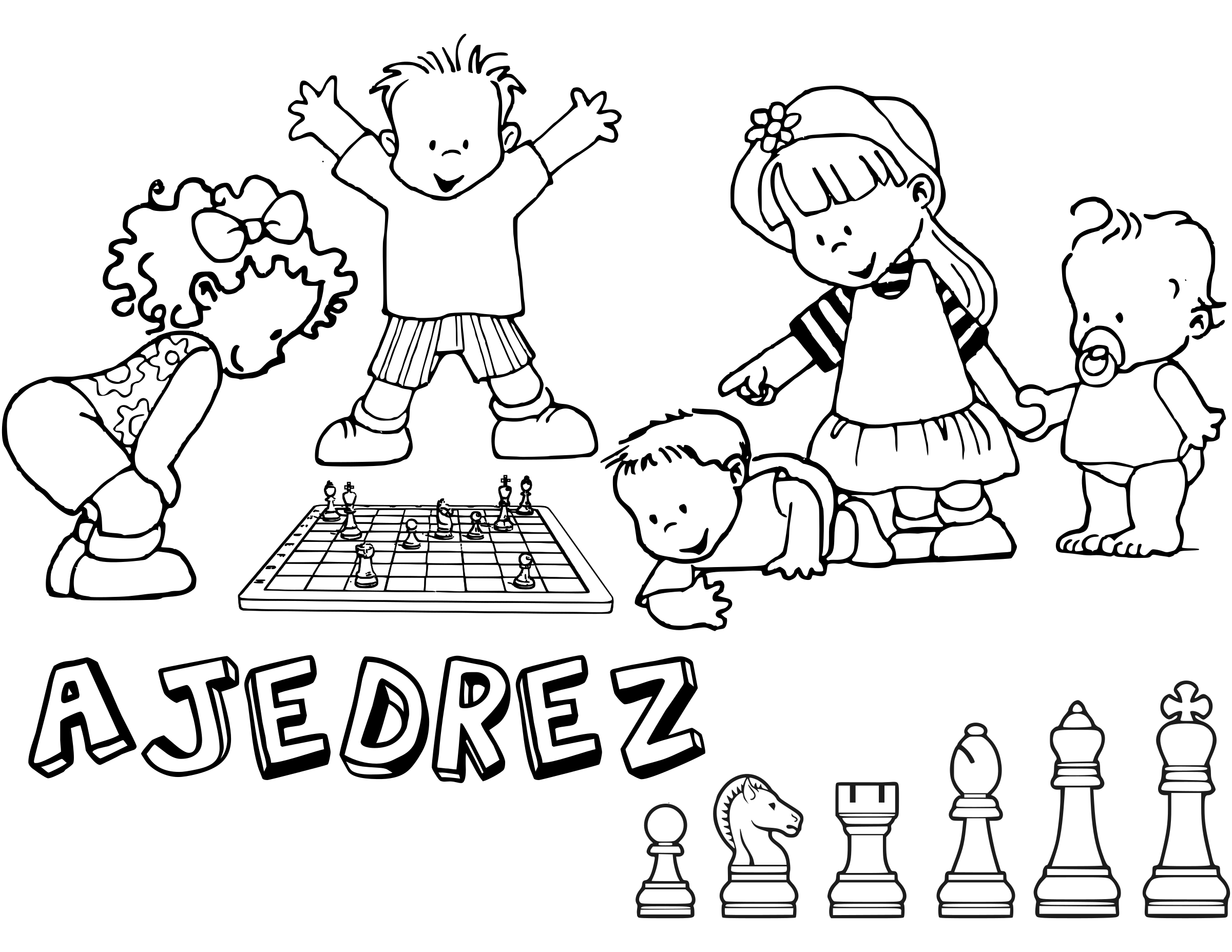 Chess coloring book  / Dibujo Ajedrez para colorear -15- by DG-RA