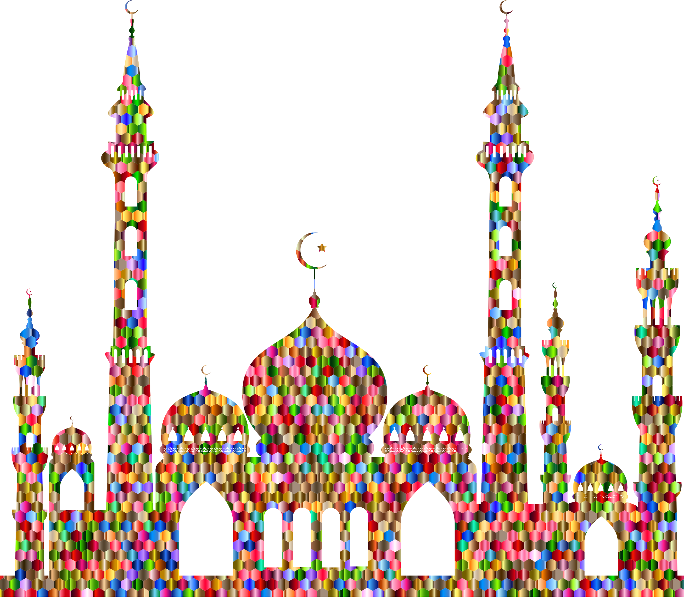 Chromatic Hex Grid Mosque Silhouette 2 by GDJ