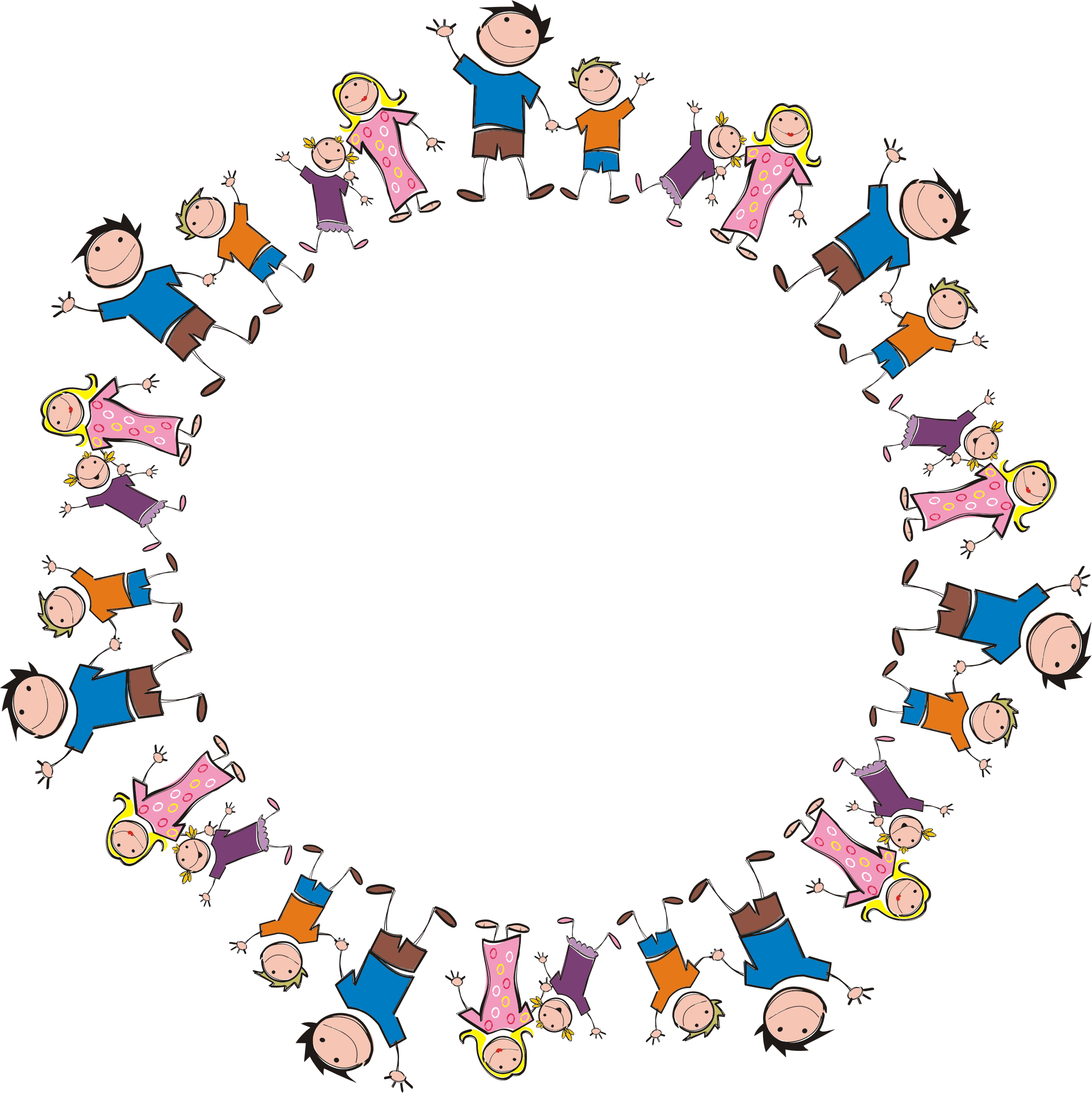 Stick Figure Family Circle by GDJ