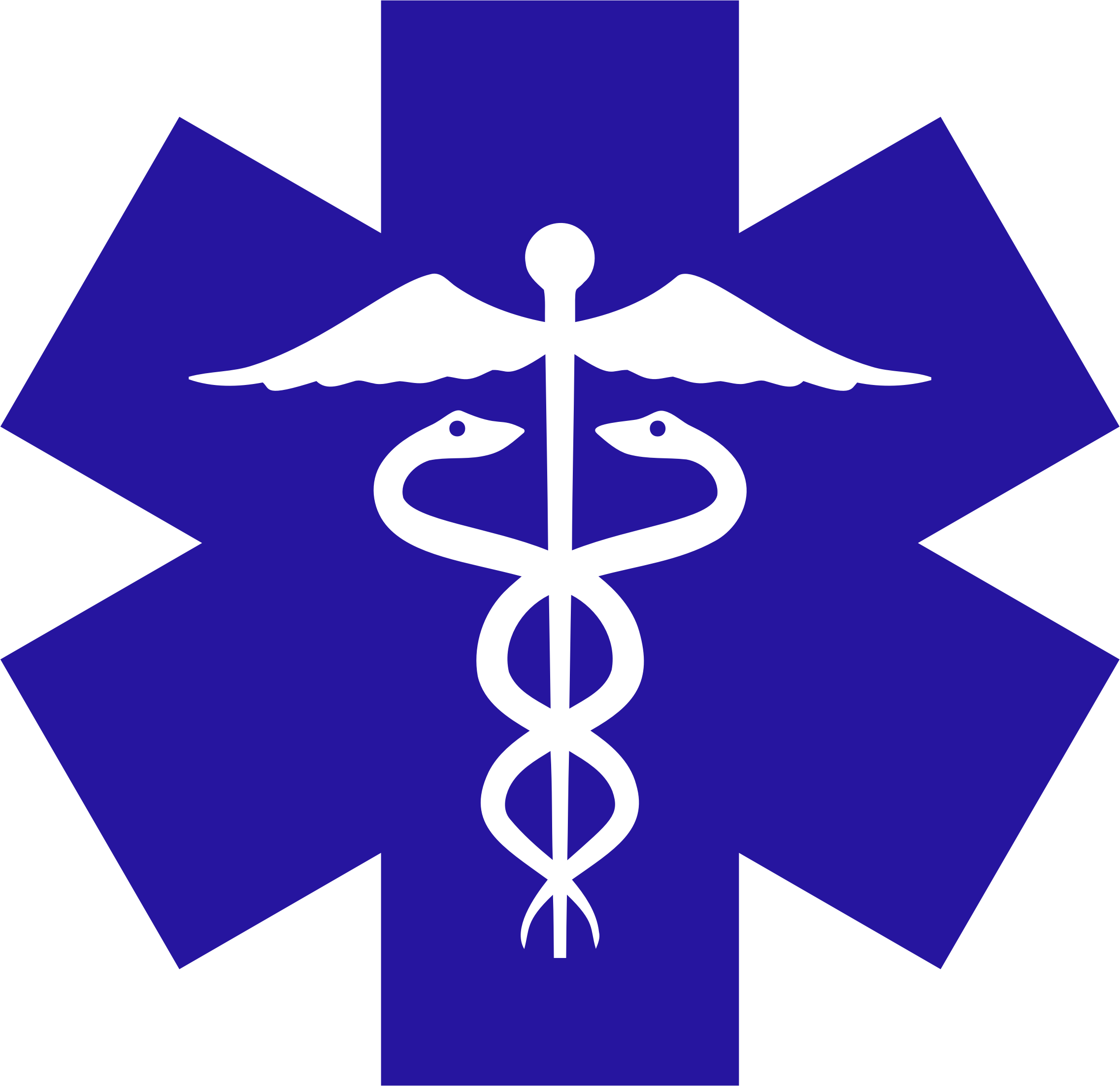Caduceus On Blue Star Of Life by GDJ