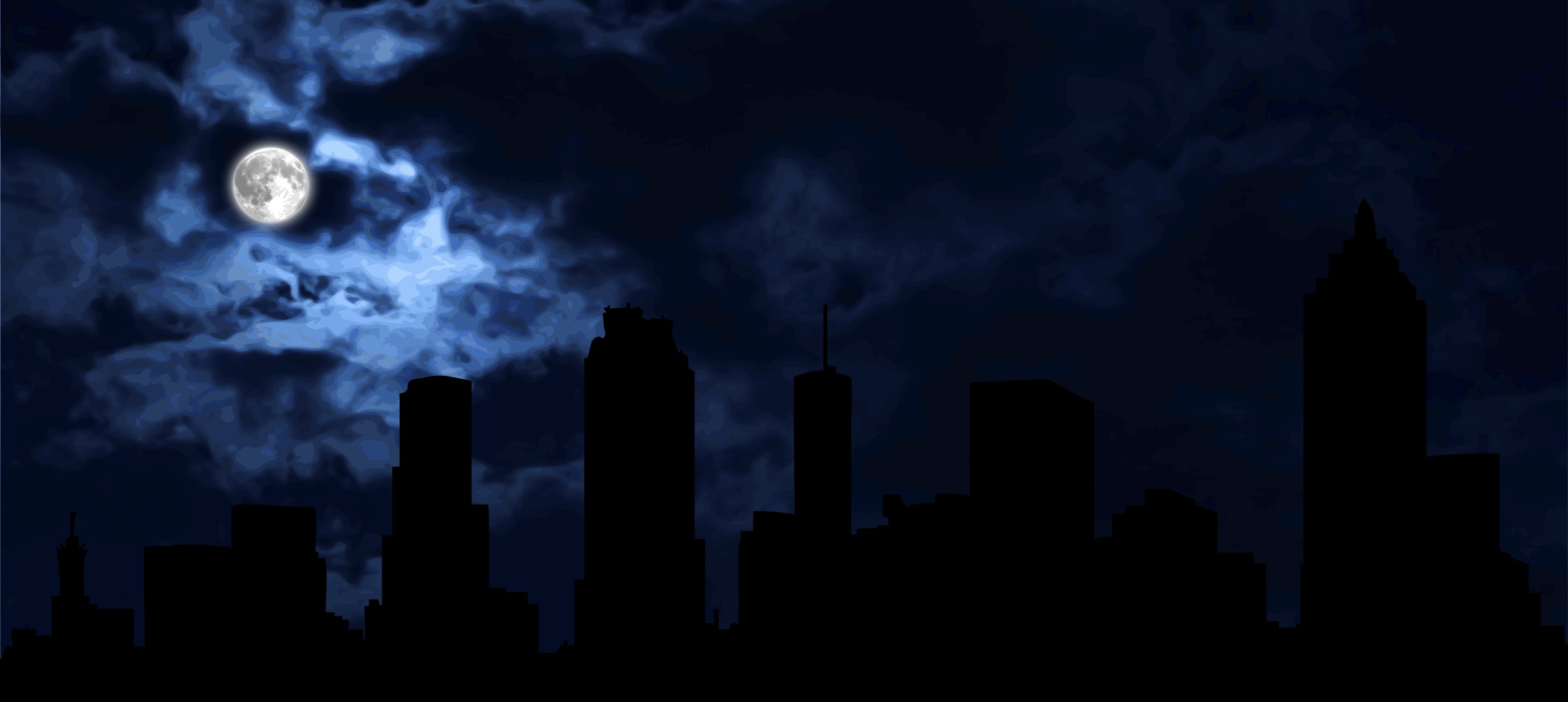 Skyline at night by Firkin