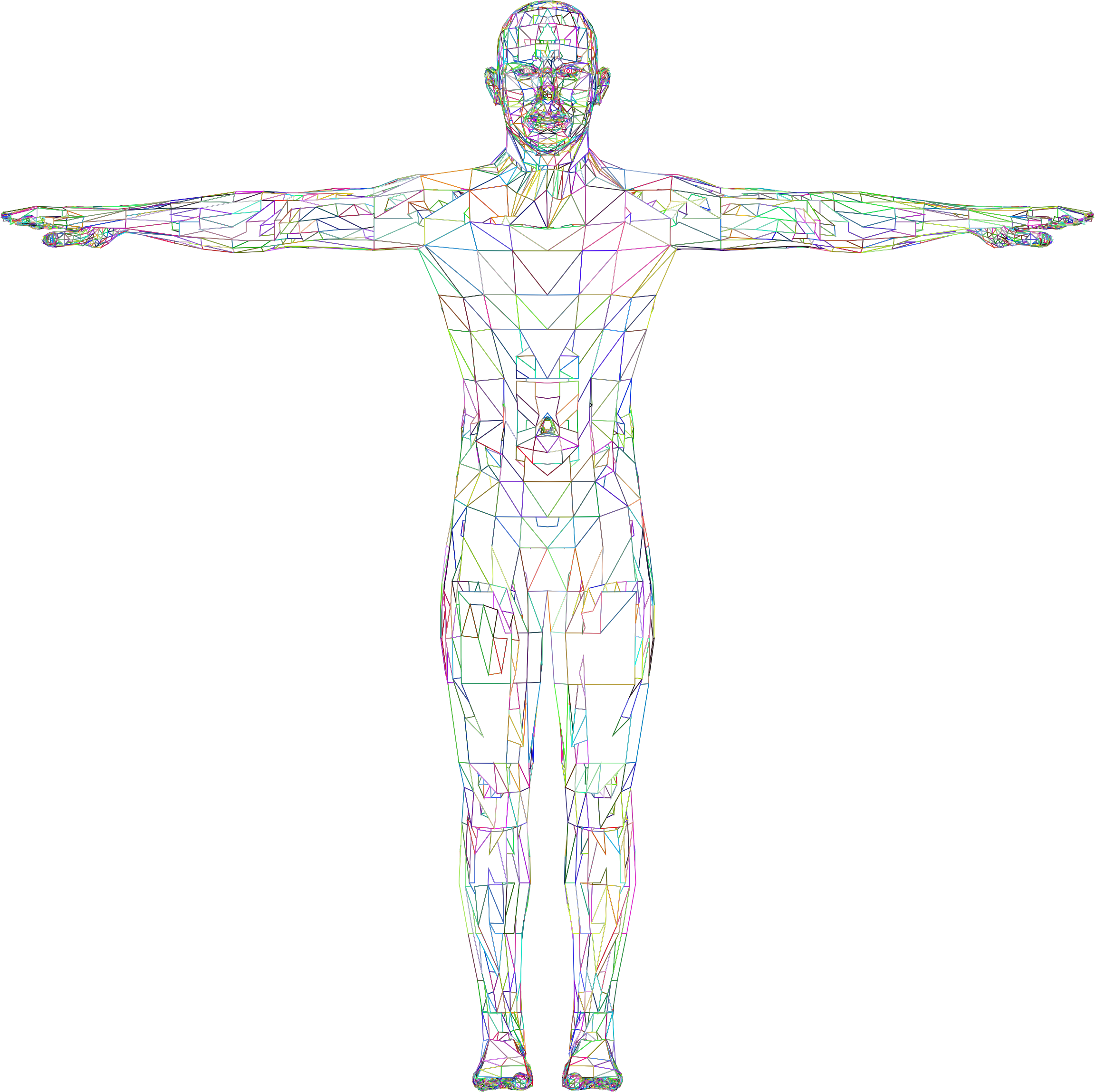 Detailed Low Poly Man Wireframe Prismatic by GDJ