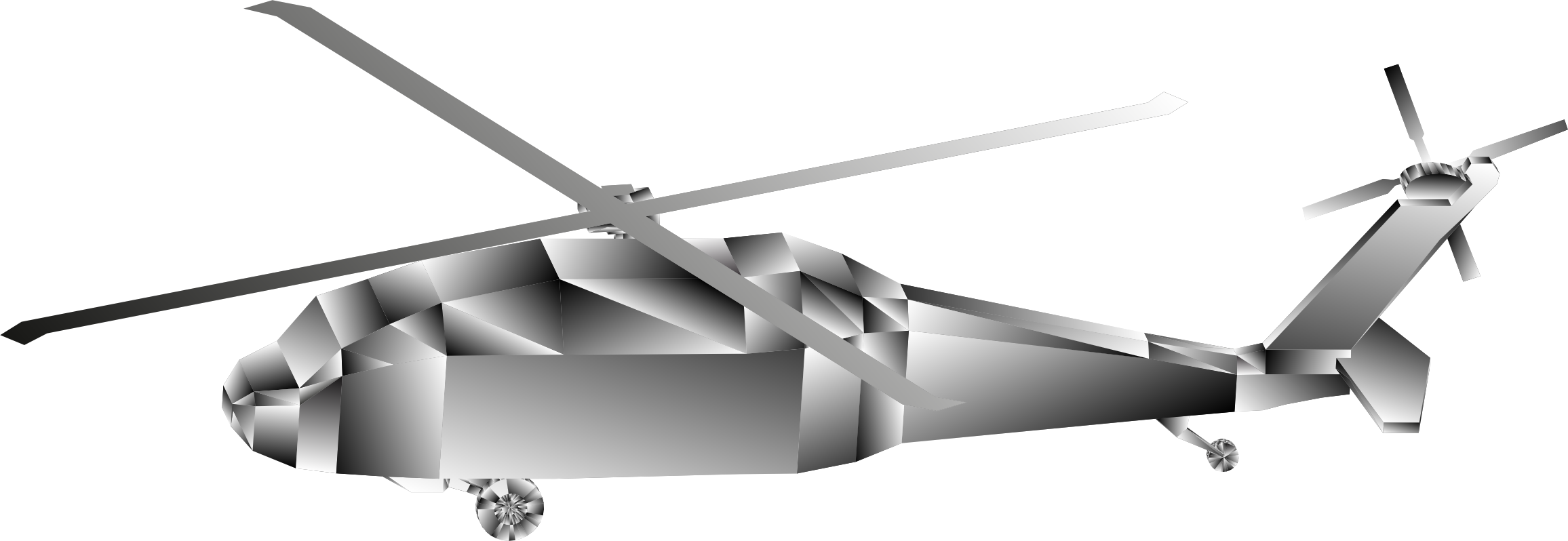 3D Low Poly Blackhawk Helicopter Grayscale 2 by GDJ