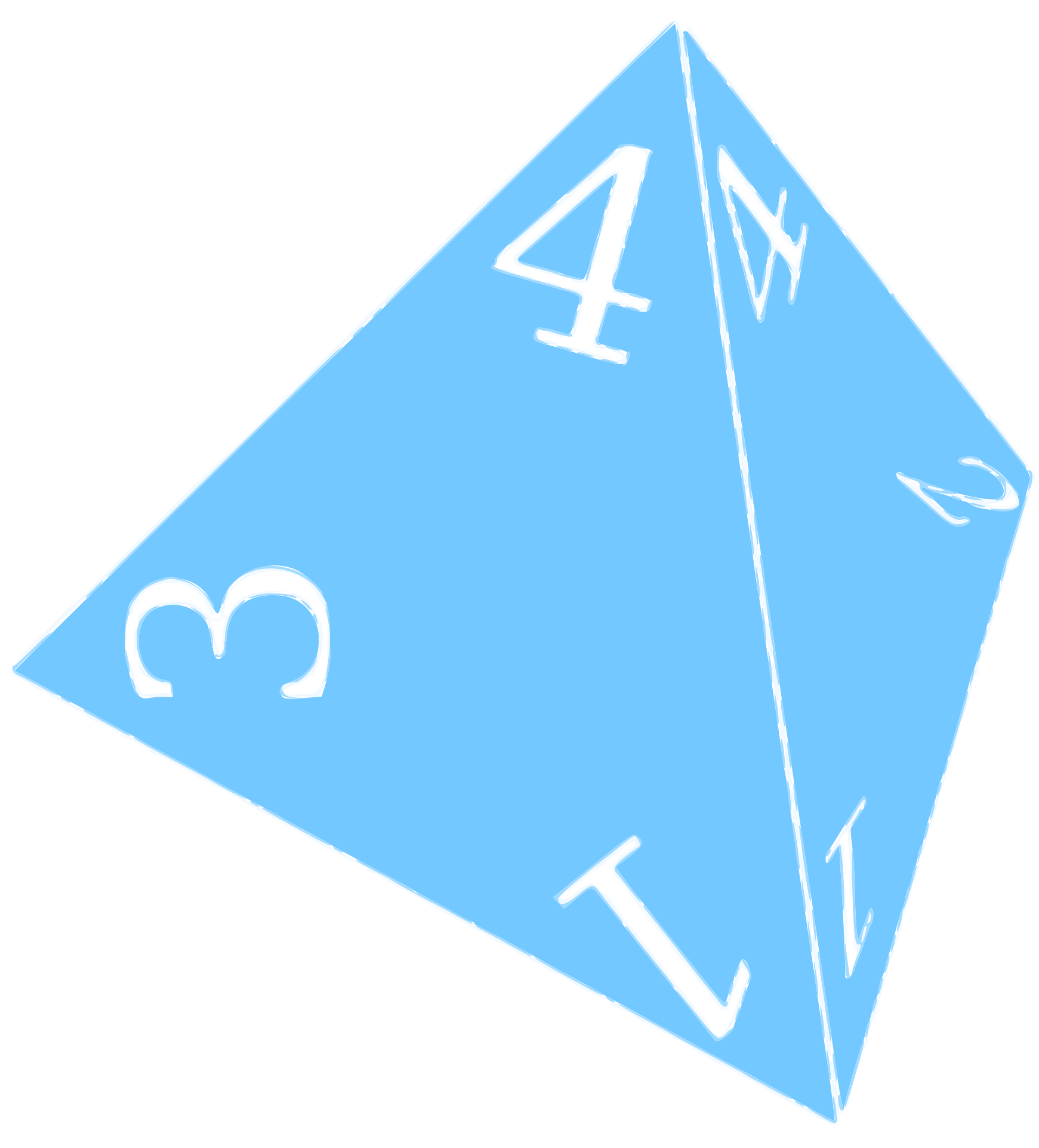 D4, Four Sided Die (Blue) by Kerooker