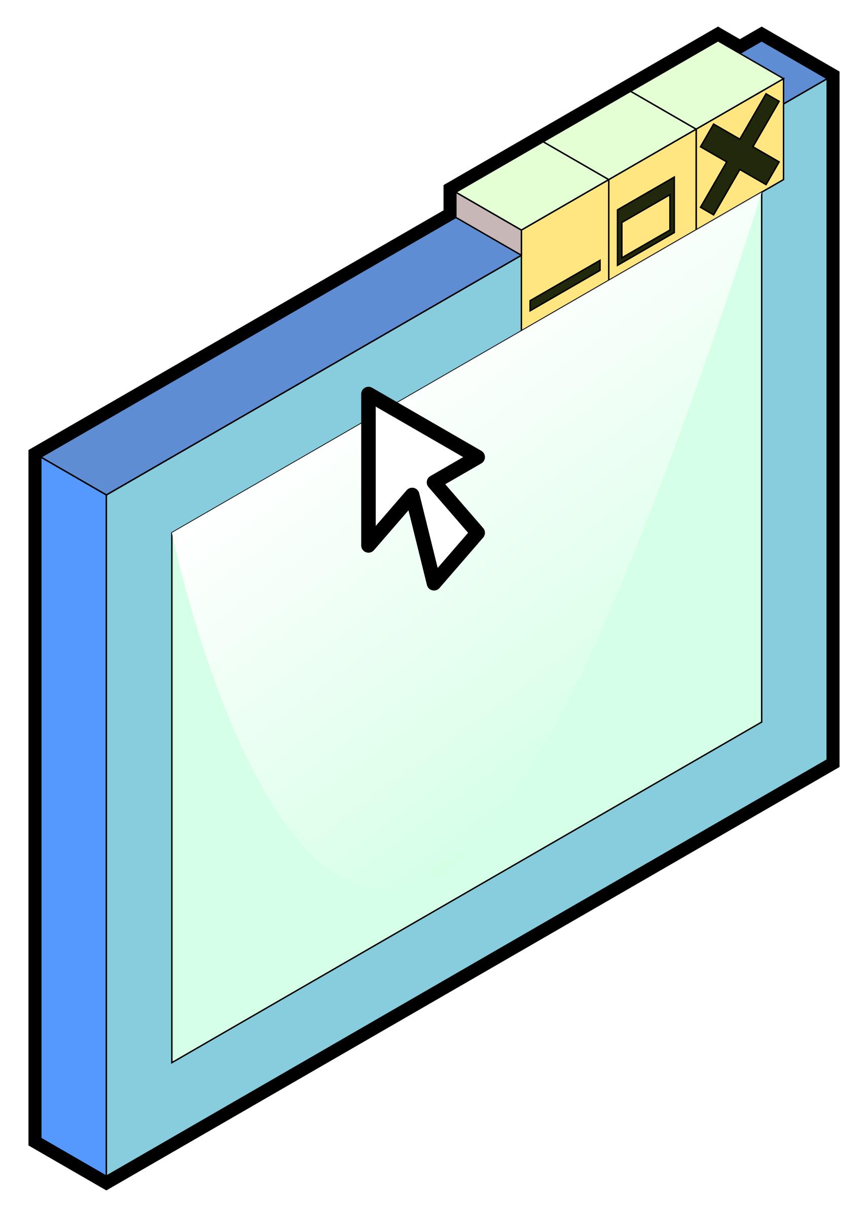 Isometric generic software window by Fabuio